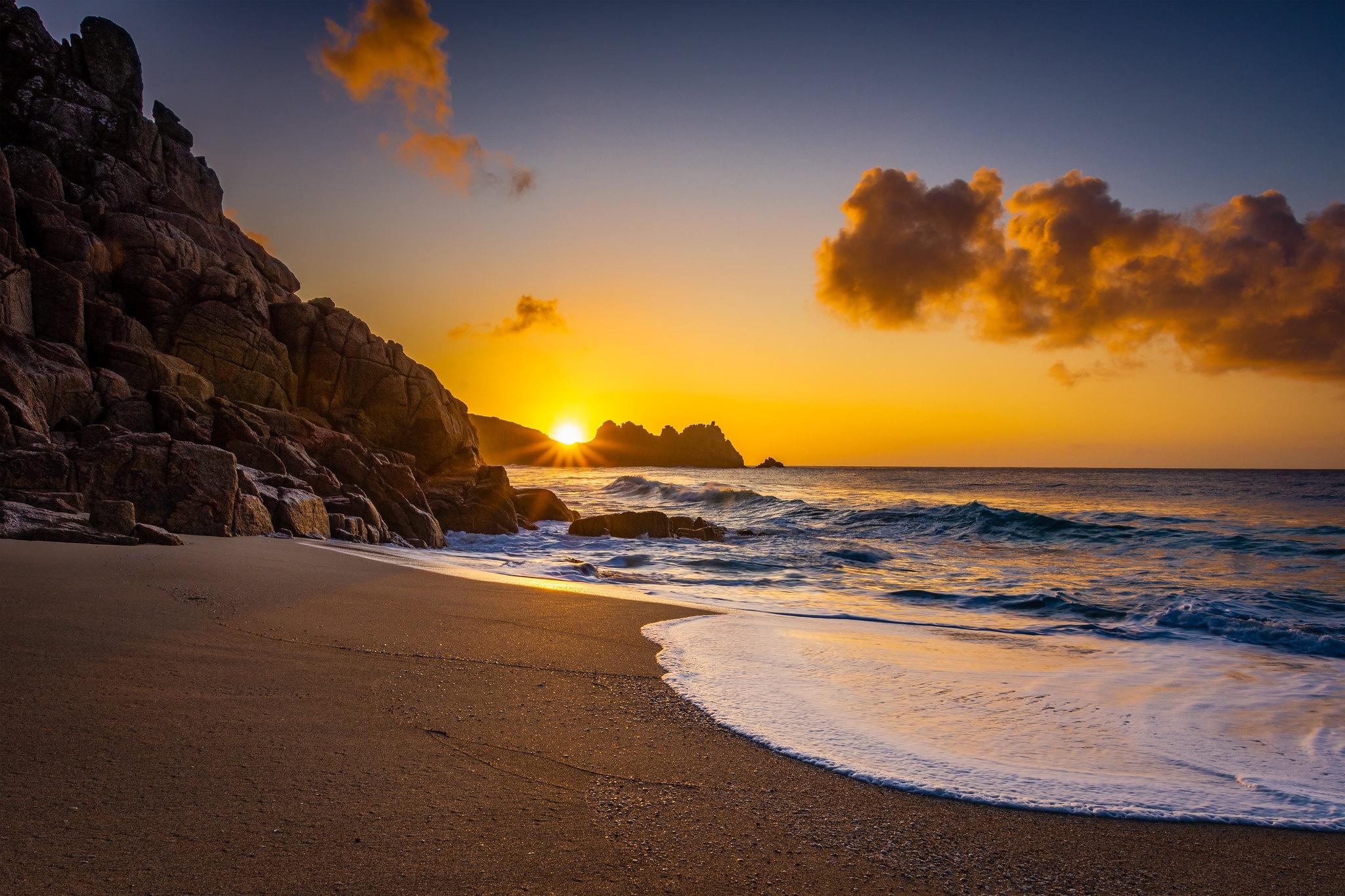 Coast England Rock Sea Sunrise 2048x1365