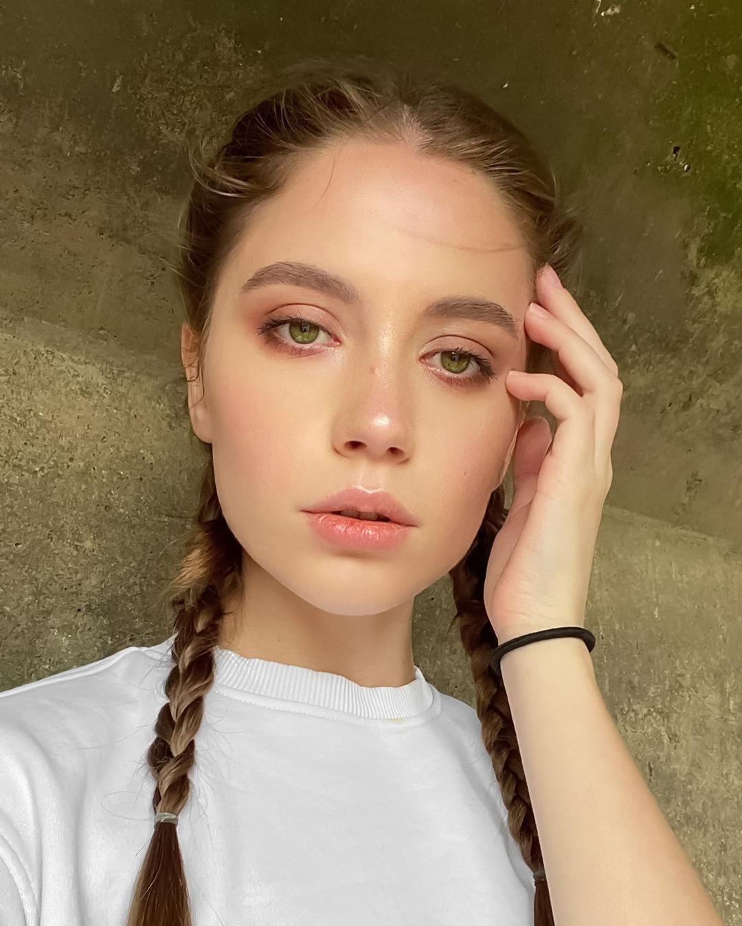 Ksenia Kokoreva Women Brunette Portrait Makeup Blush Braids Pigtails Wall Green Eyes 1080x1348