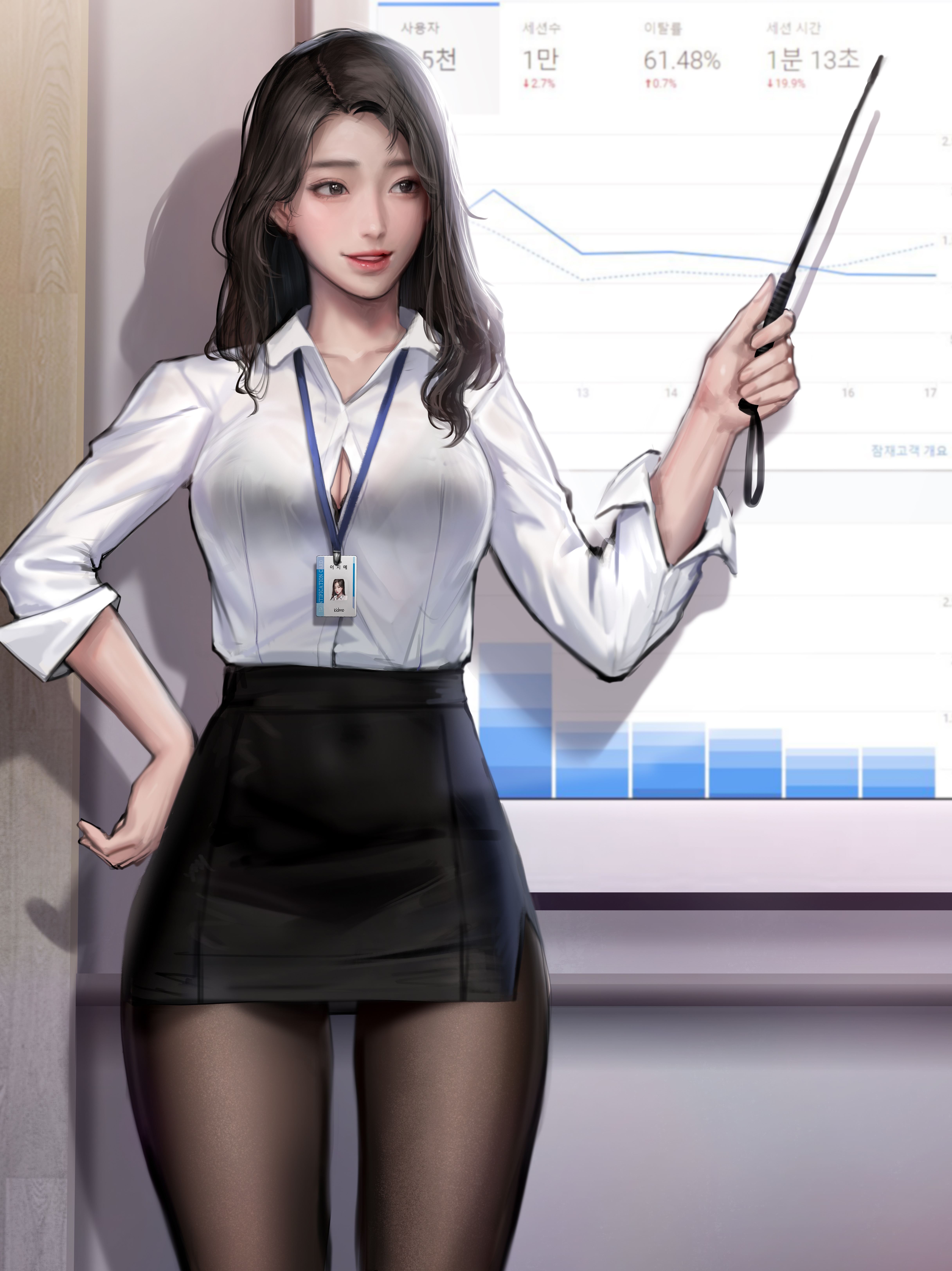 Office Girl Brunette Asian Original Characters Smiling Shirt Tights 2D Artwork Drawing Illustration  4866x6498