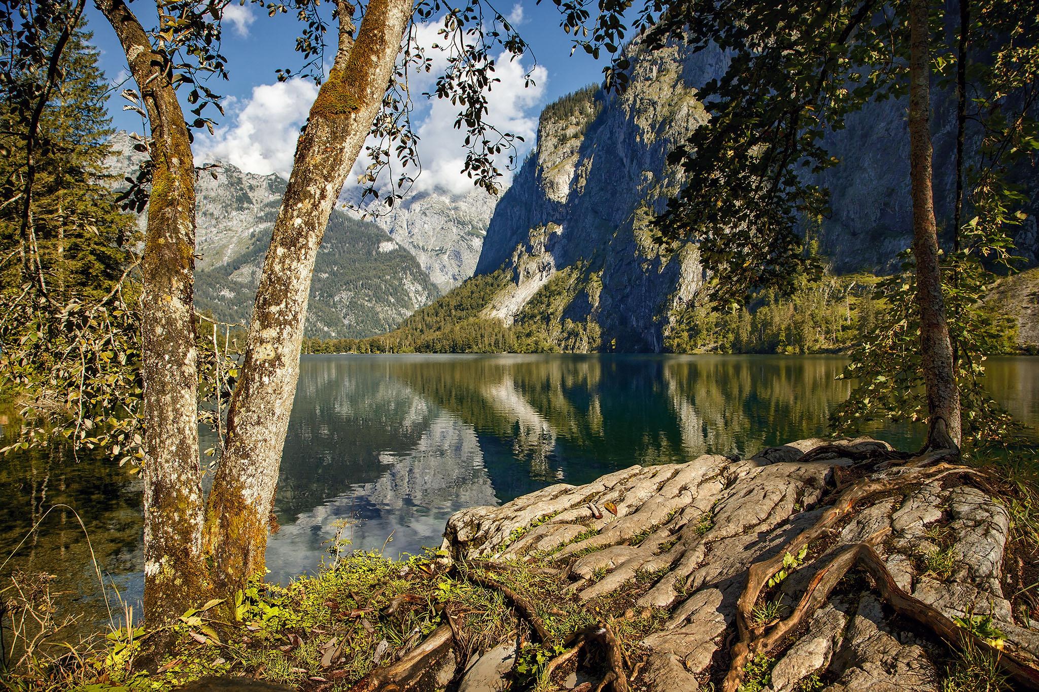 Germany Cloud Tree Mountain Lake Reflection 2048x1365