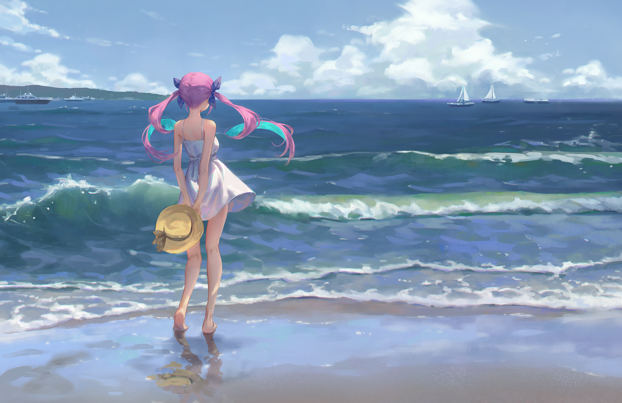 Anime Girls Dress Wind Waves Beach Barefoot Sun Dress Twintails Violet Hair Gawain Minato Aqua Holol 2400x1557