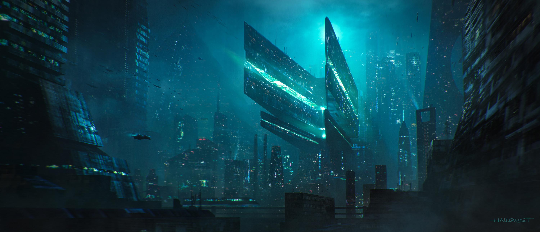 Futuristic City Skyscraper Cityscape 3000x1286