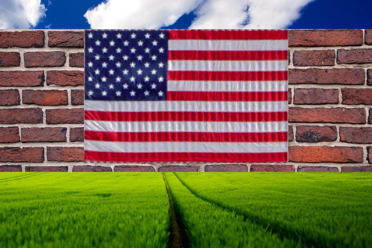 Bricks Wall Clouds USA Stars And Stripes Propaganda 1280x853