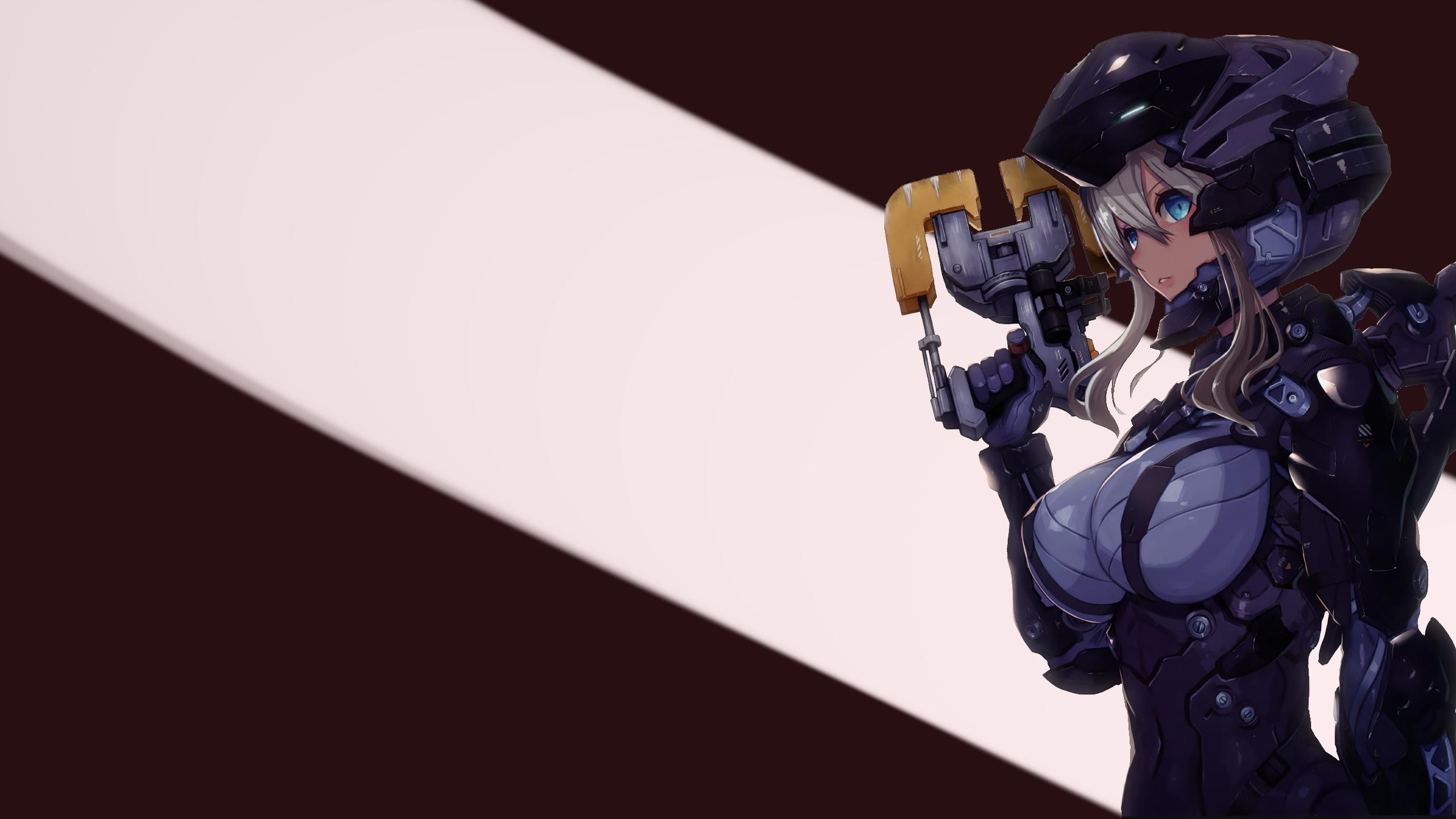 Anime Dead Space White Hair Armor Futuristic Blue Eyes 2560x1440