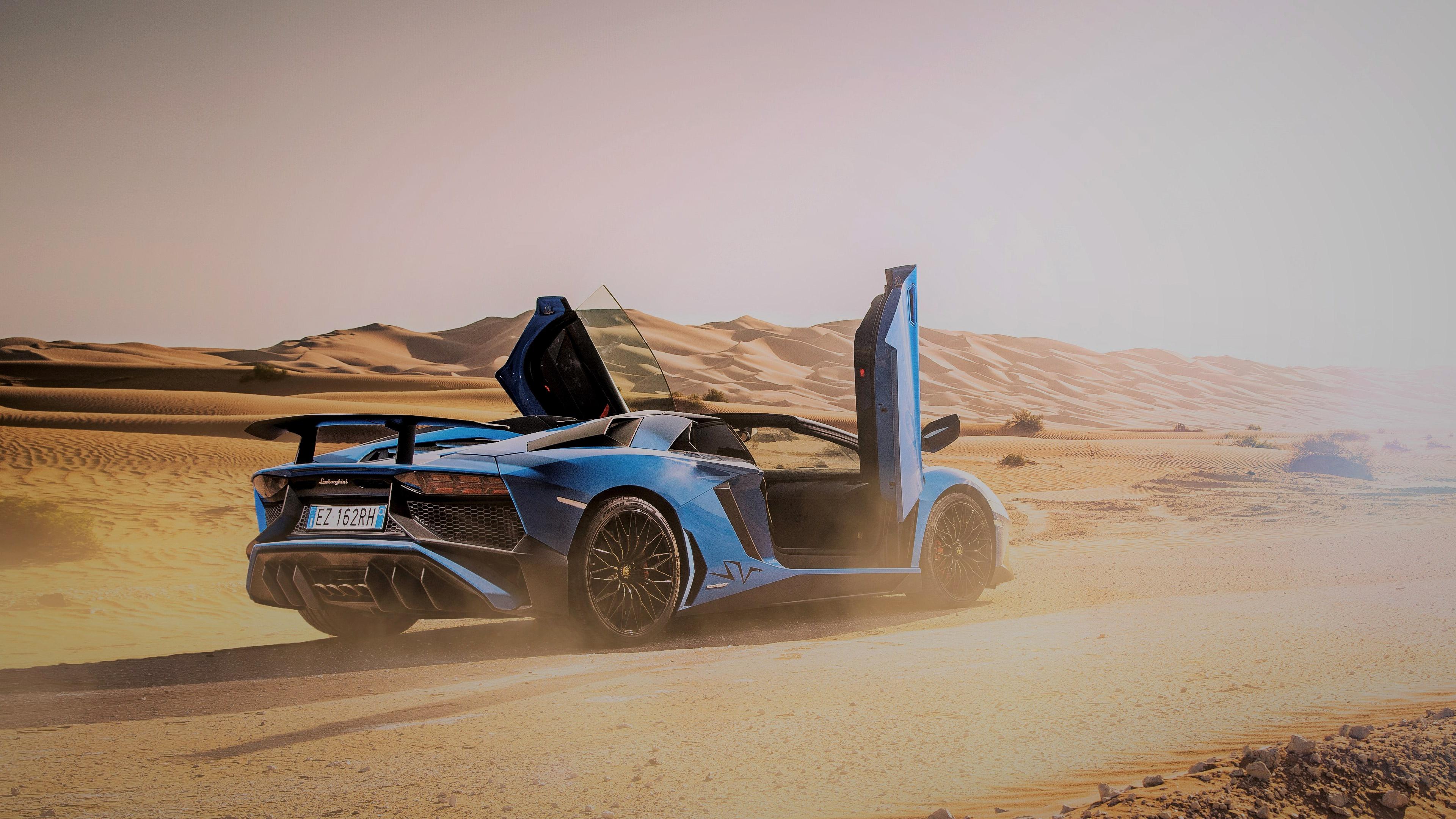 Lamborghini Car Blue Car Sport Car Supercar Desert 3840x2160