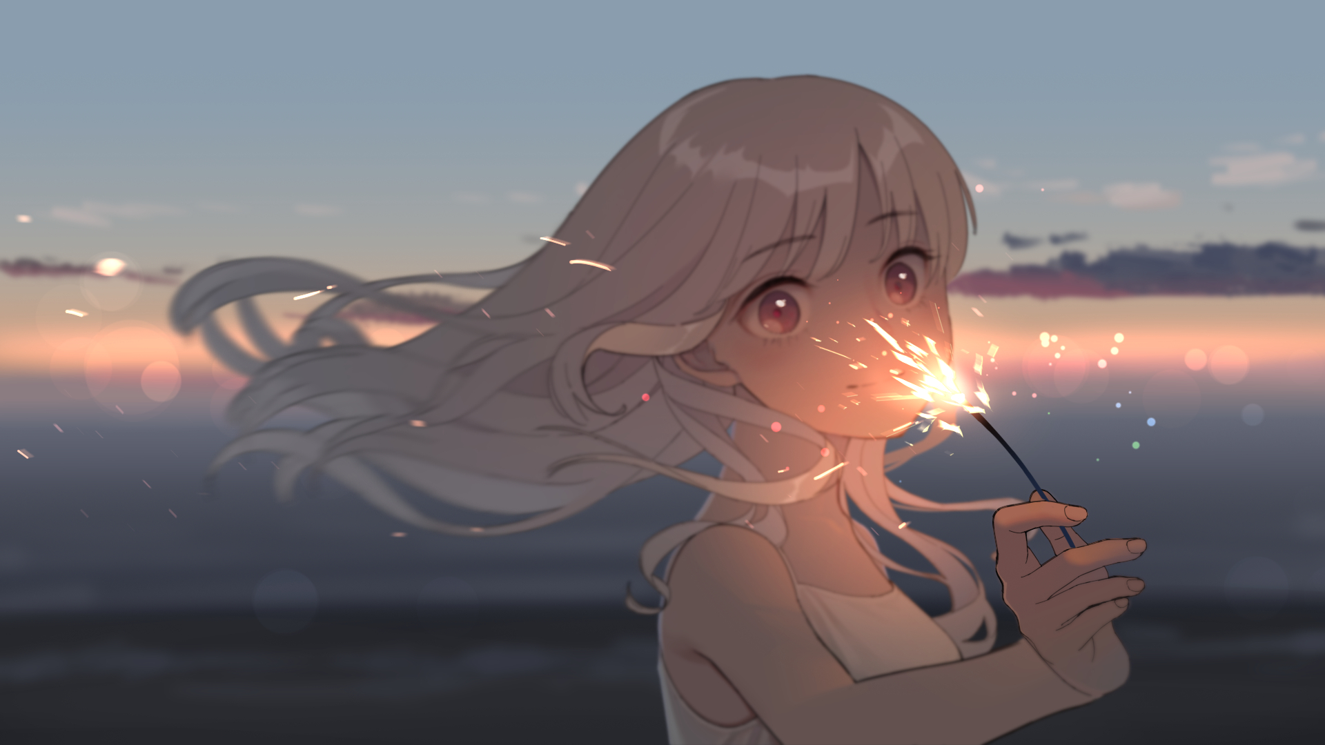 Anime Anime Girls Blonde Long Hair Sunset Clouds Sky Beach Red Eyes Sparklers Looking At Viewer 1920x1080