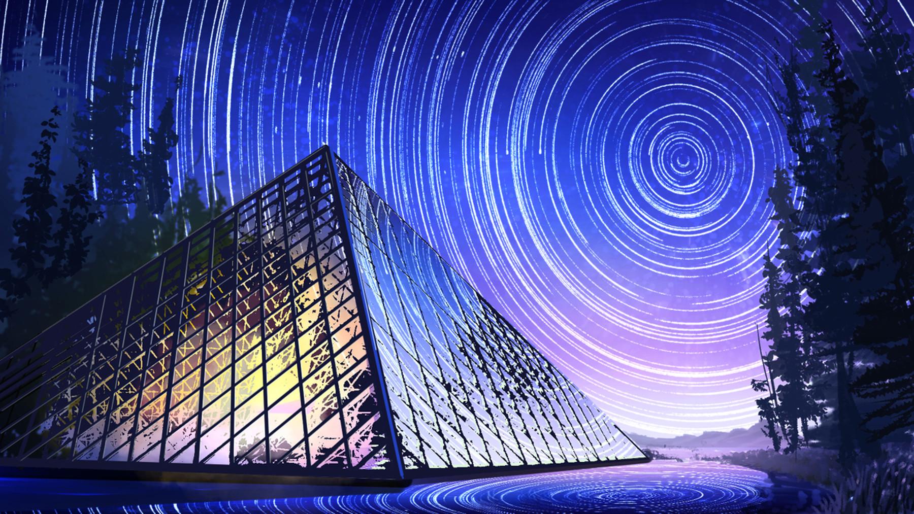 Pyramid Comet Night Light Reflection 1800x1013