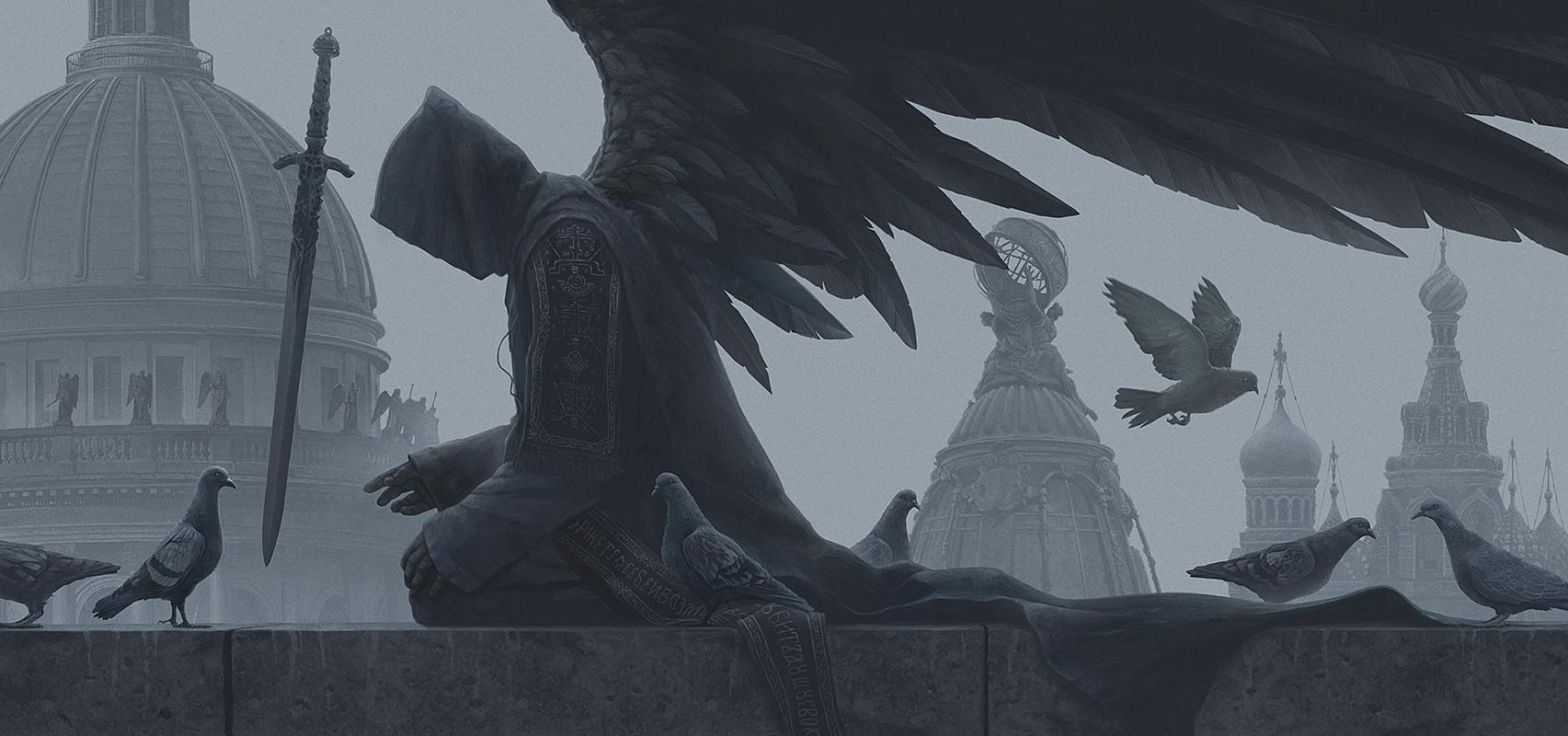 Alexey Egorov Digital Art Fantasy Art Sword Monochrome Dove Western Architecture 1705x800