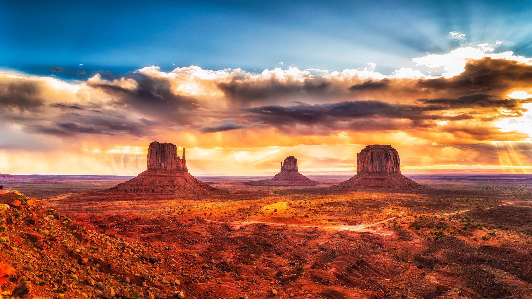 Cloud Desert Horizon Landscape Monument Valley Sky Usa 2048x1152