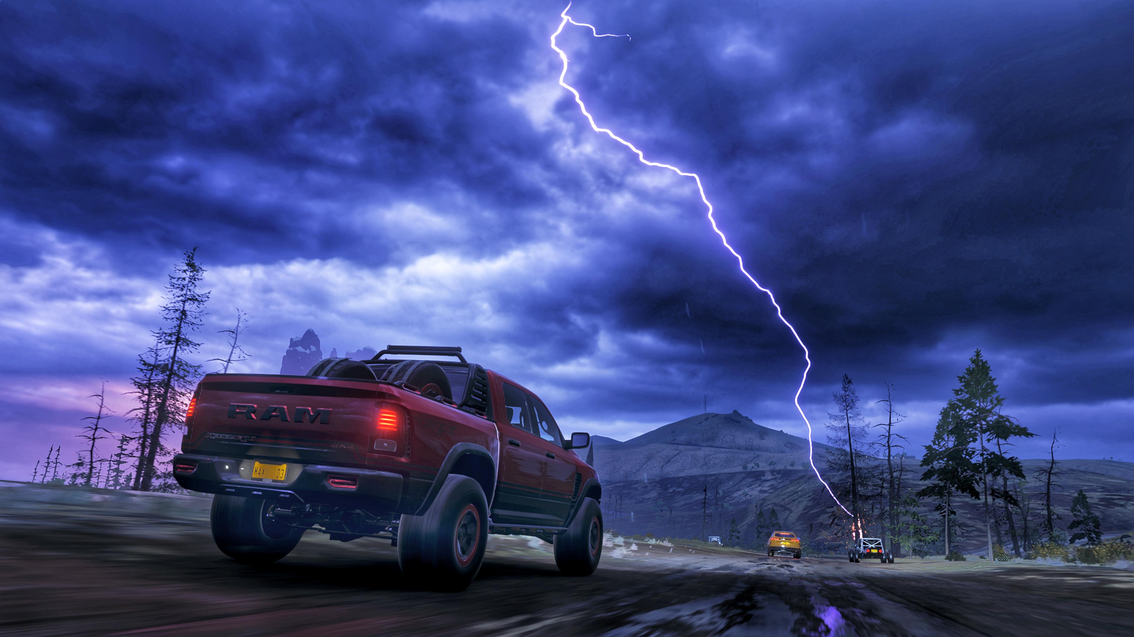 Forza Forza Horizon 4 Fortune Island Truck Pickup Trucks Dodge Dodge RAM Storm Lightning 3840x2160