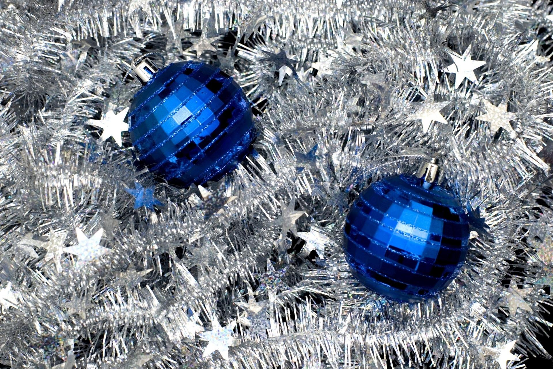 Decoration Silver Stars Bauble Blue 1920x1280