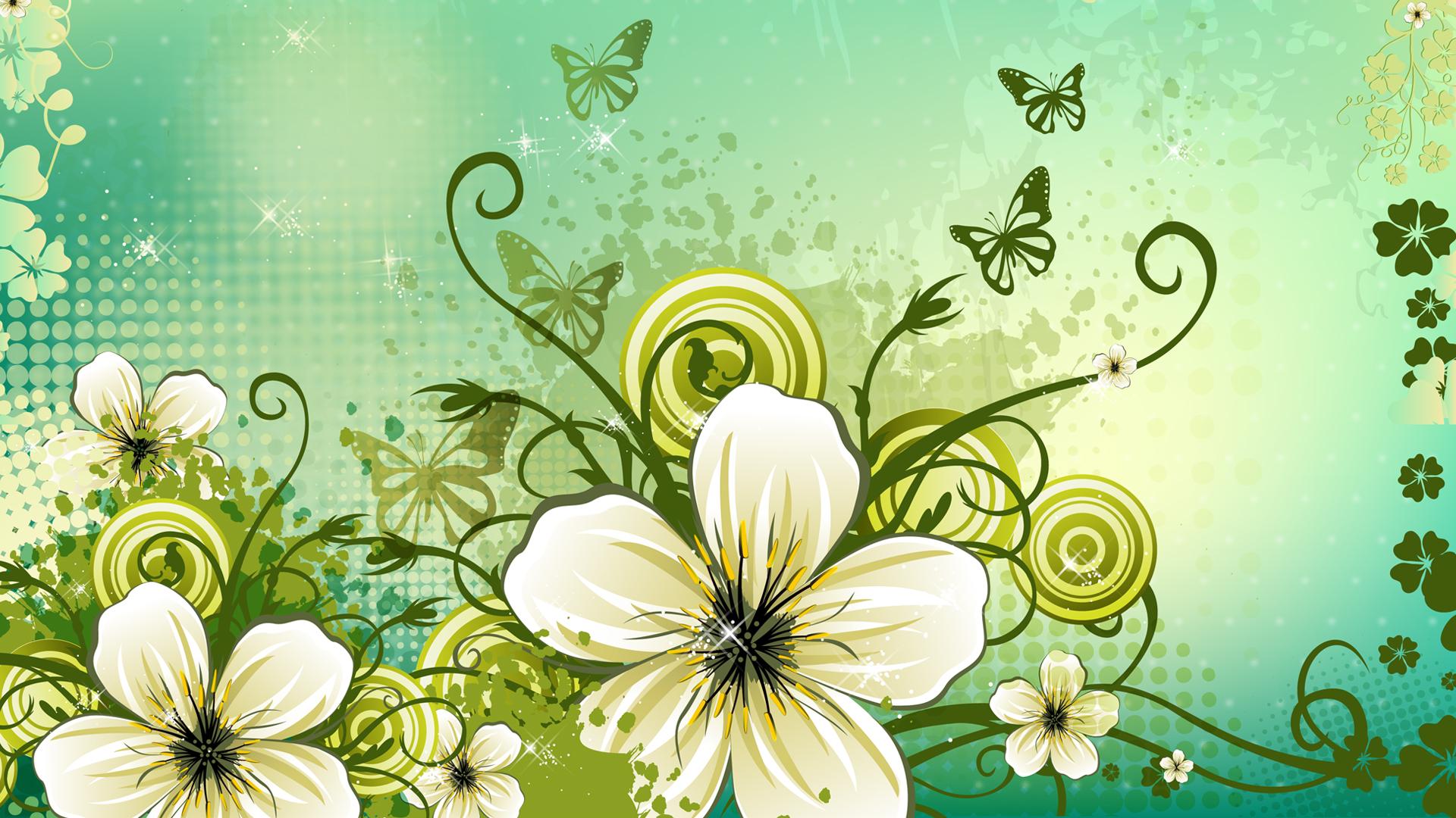 Vector Floral Digital Art 1920x1080