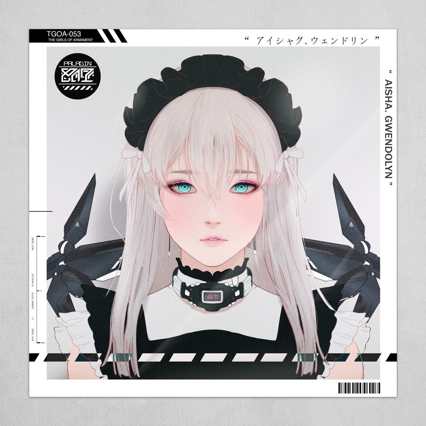 Gharliera Drawing Women Anime Girls Silver Hair Portrait Hair Accessories Frame Poster Blue Eyes 1461x1461