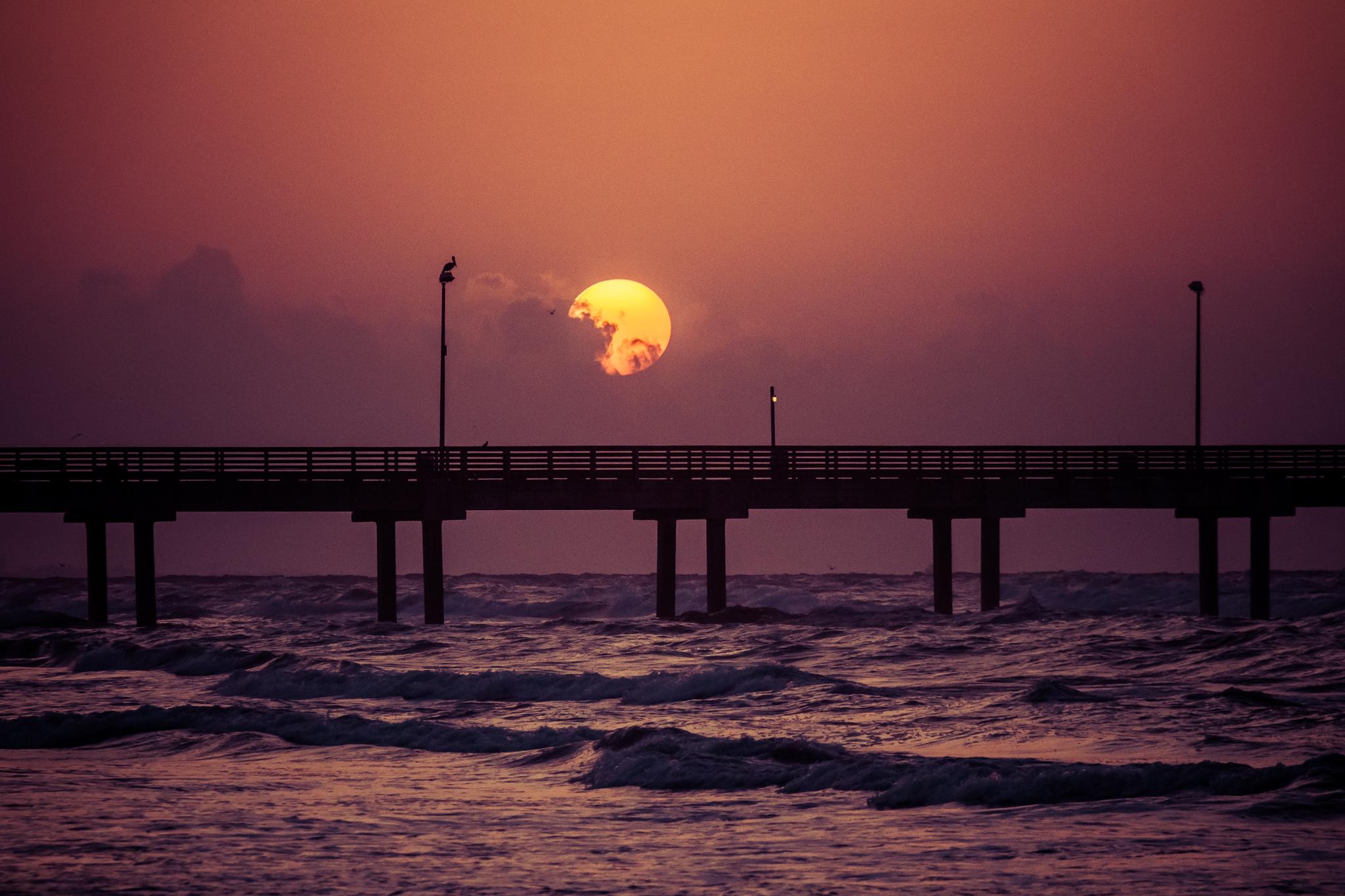 Sun Sky Orange Color Purple Pier Ocean Sea 2048x1365