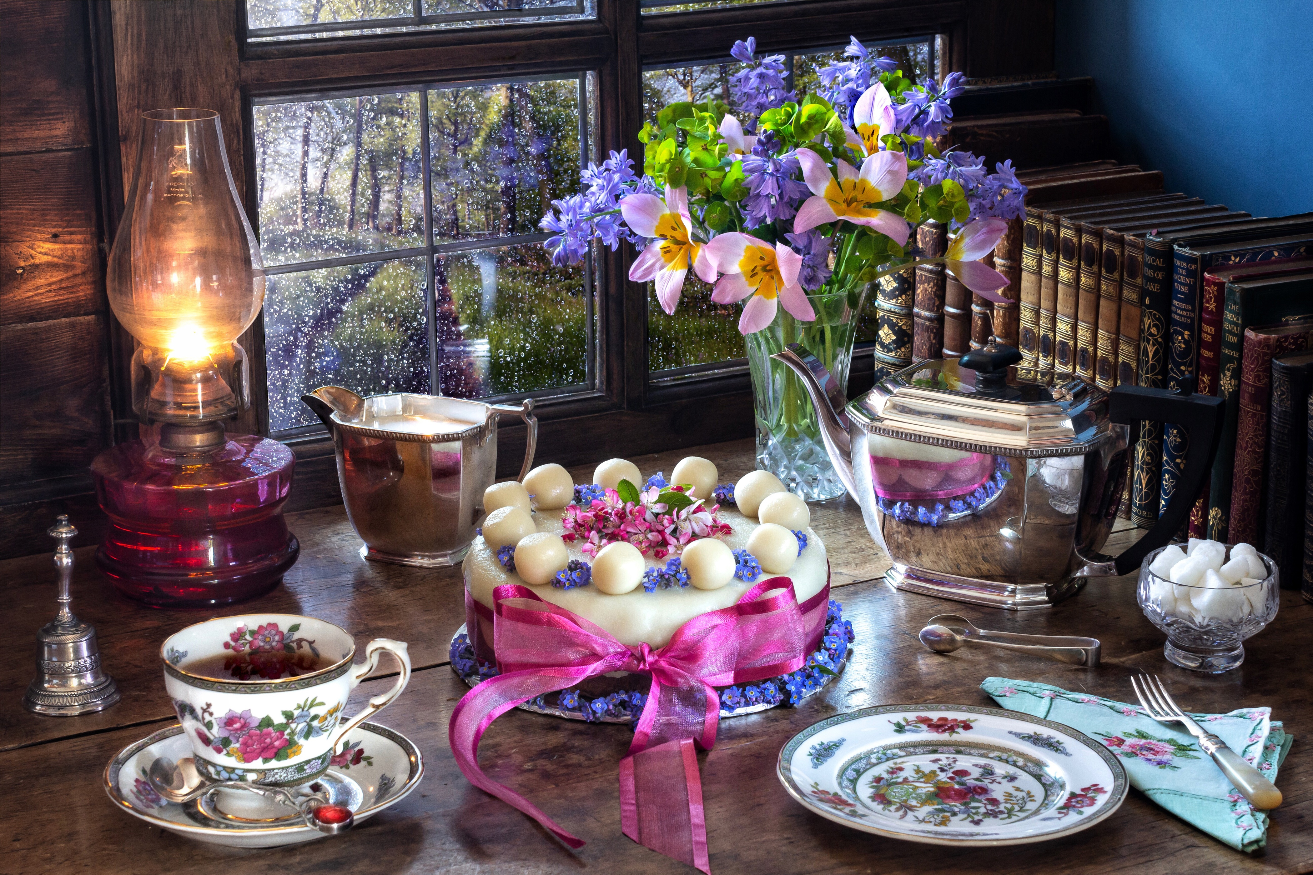 Cake Cup Lantern Flower Plate Book Kettle Window Ribbon Vase Pink Flower Raindrops Bell Saucer Flame 4200x2800