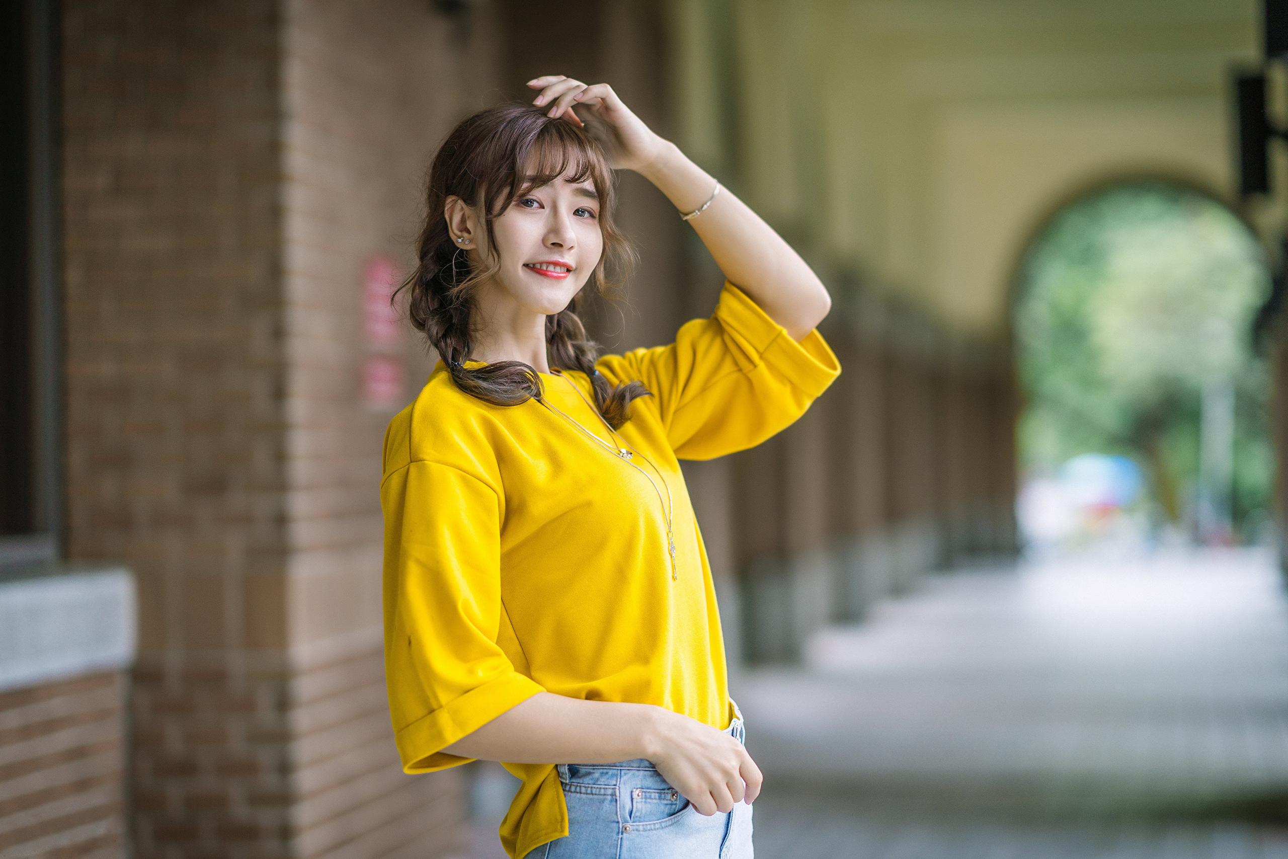 Asian Model Women Women Outdoors Long Hair Dark Hair Depth Of Field Twintails Braided Hair Yellow Sh 2560x1707