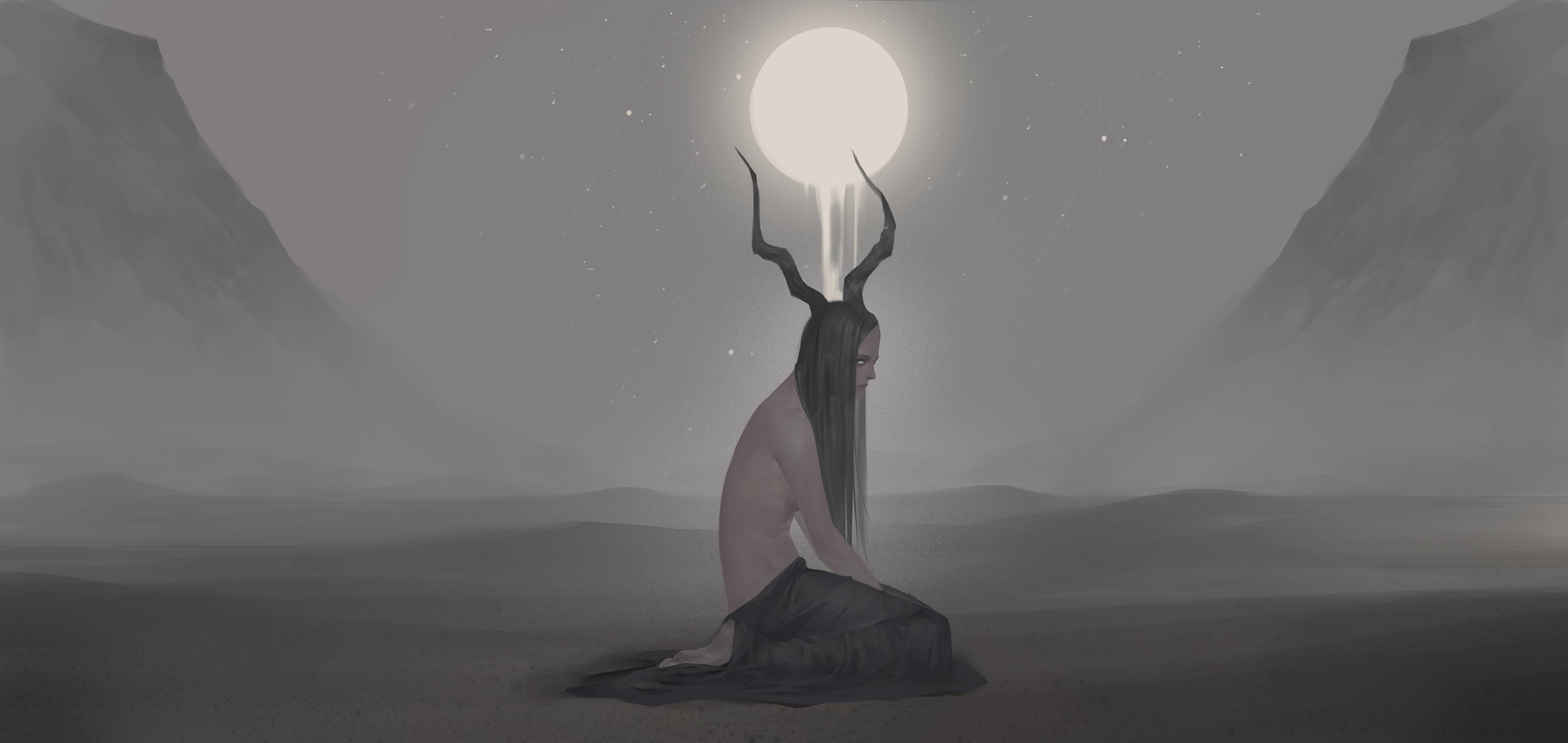 Digital Art Illustration Midfinger Original Characters Horns Monster Girl Long Hair Black Hair White 4192x1986