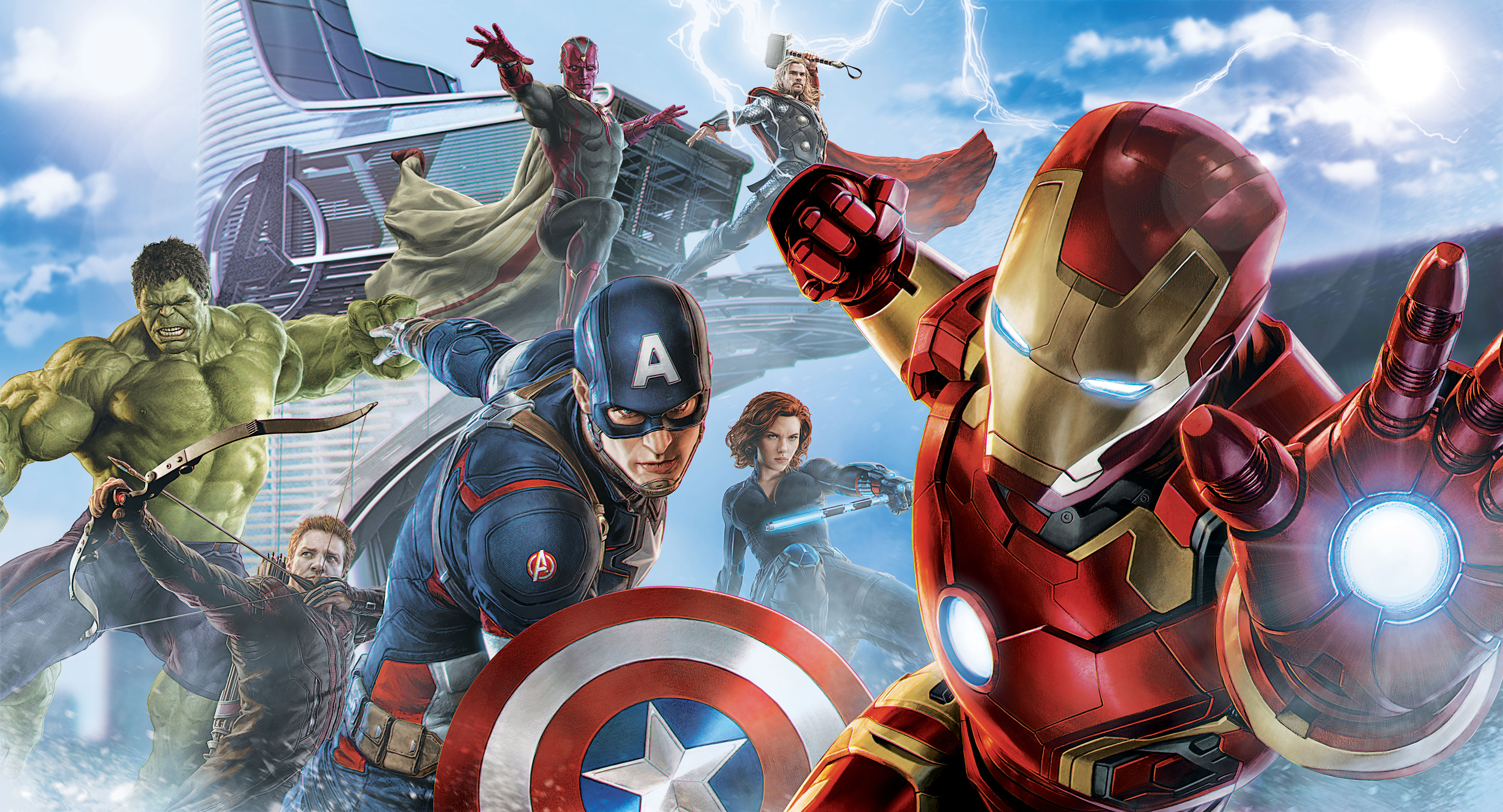 Avengers Hulk Hawkeye Captain America Iron Man Black Widow Thor Vision Marvel Comics 6800x3676