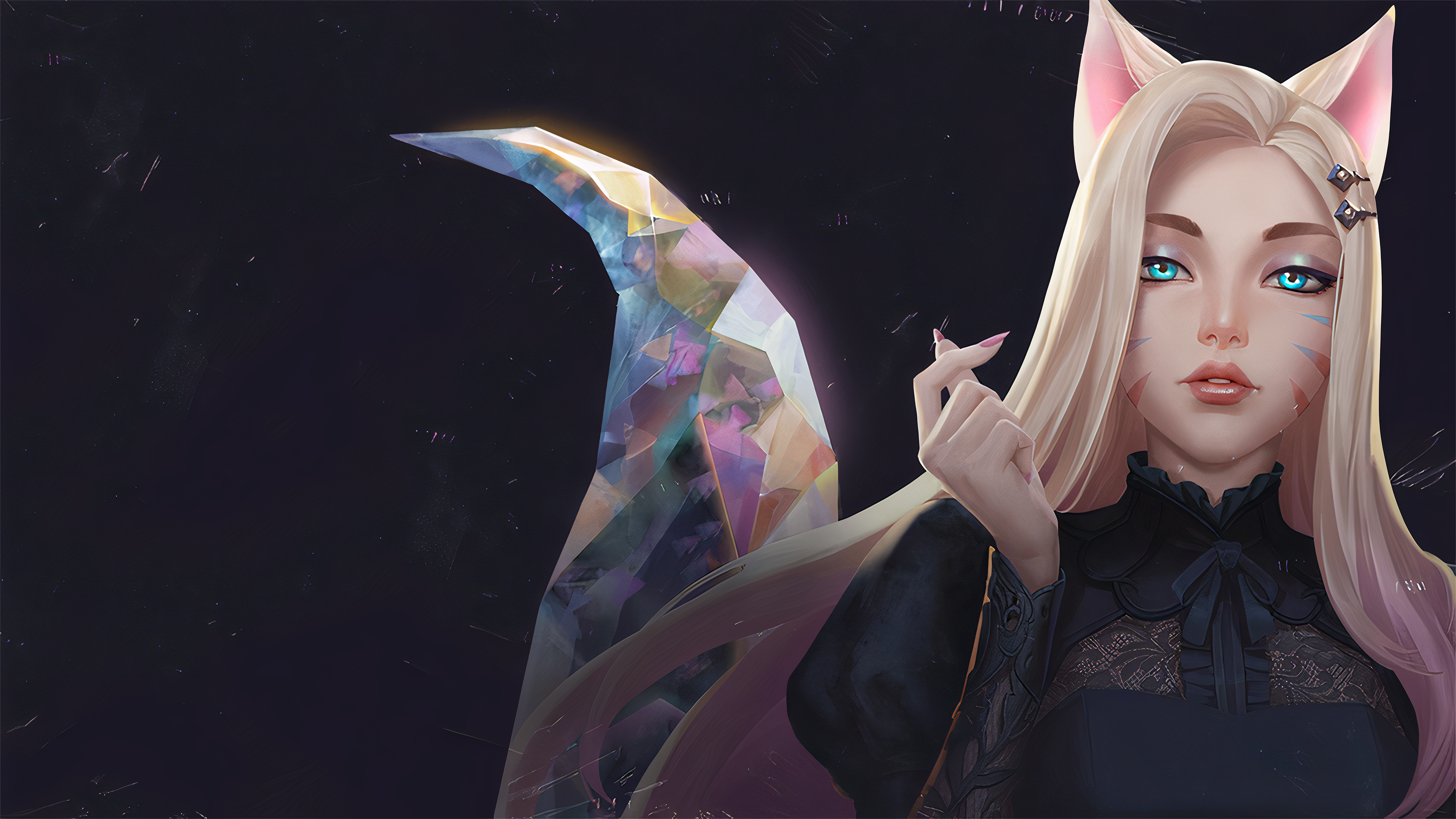 Ahri League Of Legends K Pop Cat Girl Blue Eyes Woman Blonde Animal Ears K Da 3840x2160