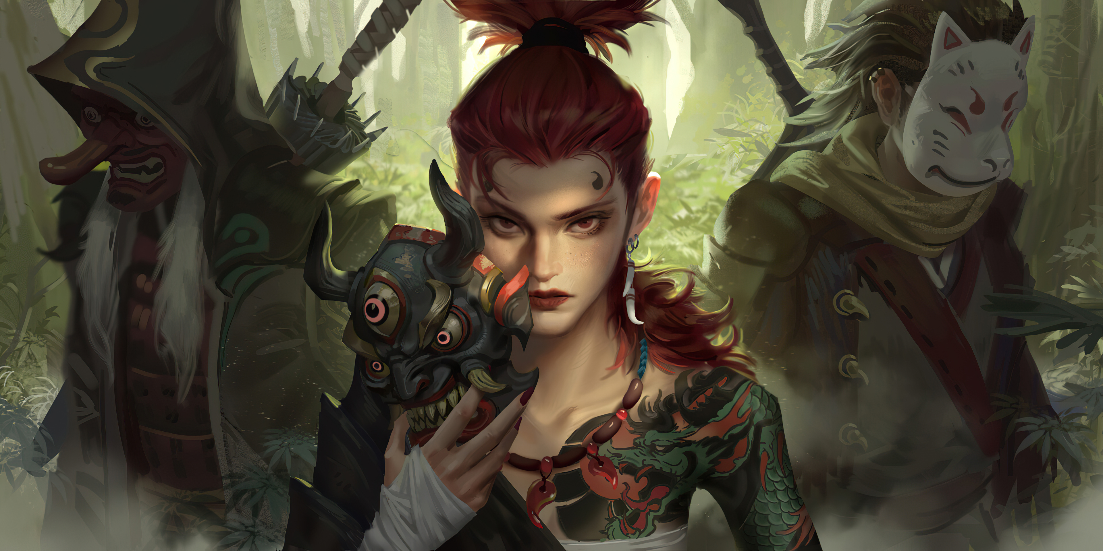 Woman Warrior Girl Red Hair Tattoo Mask Red Eyes 3840x1920