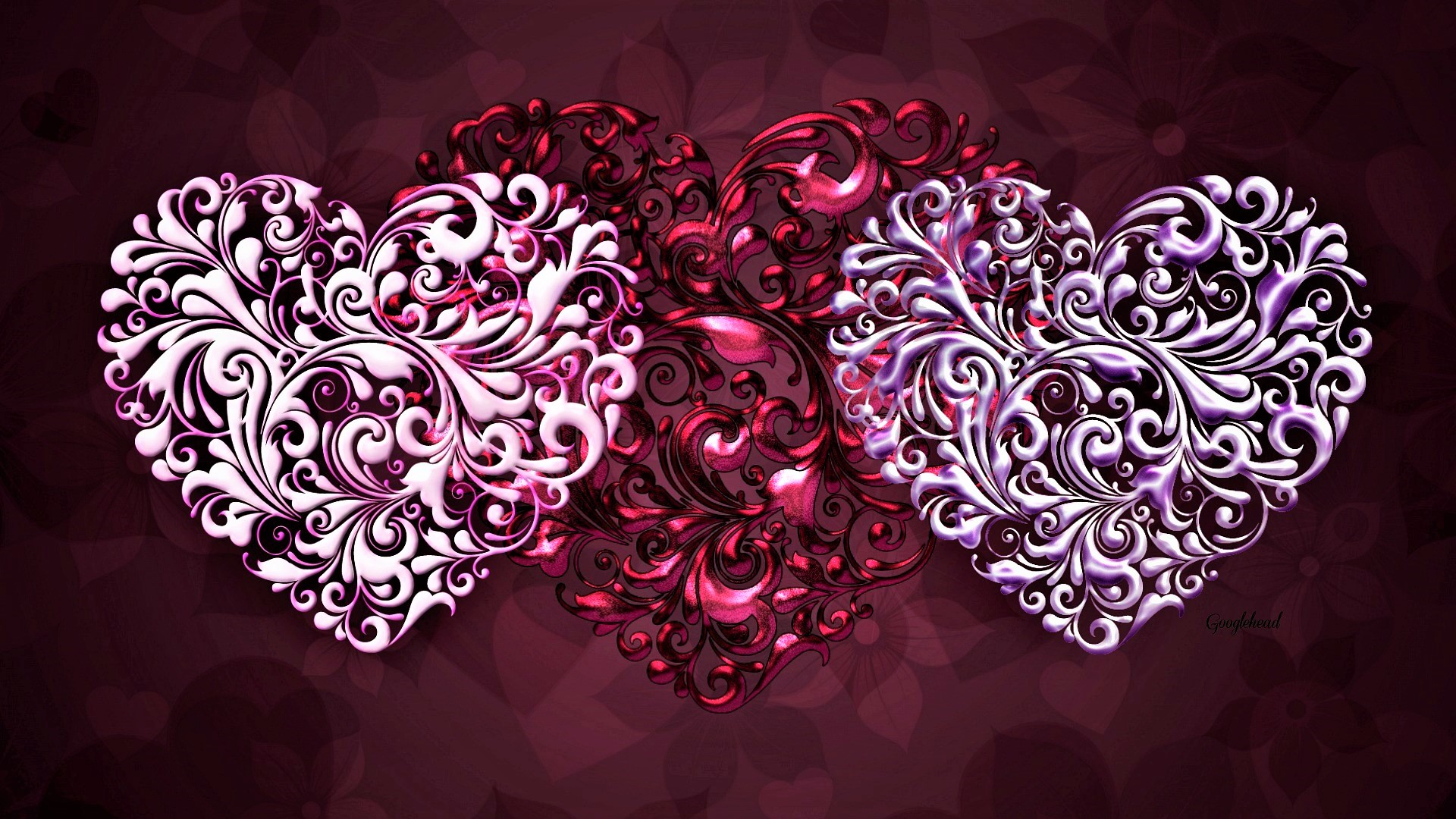 Artistic Heart Pink Red 1920x1080