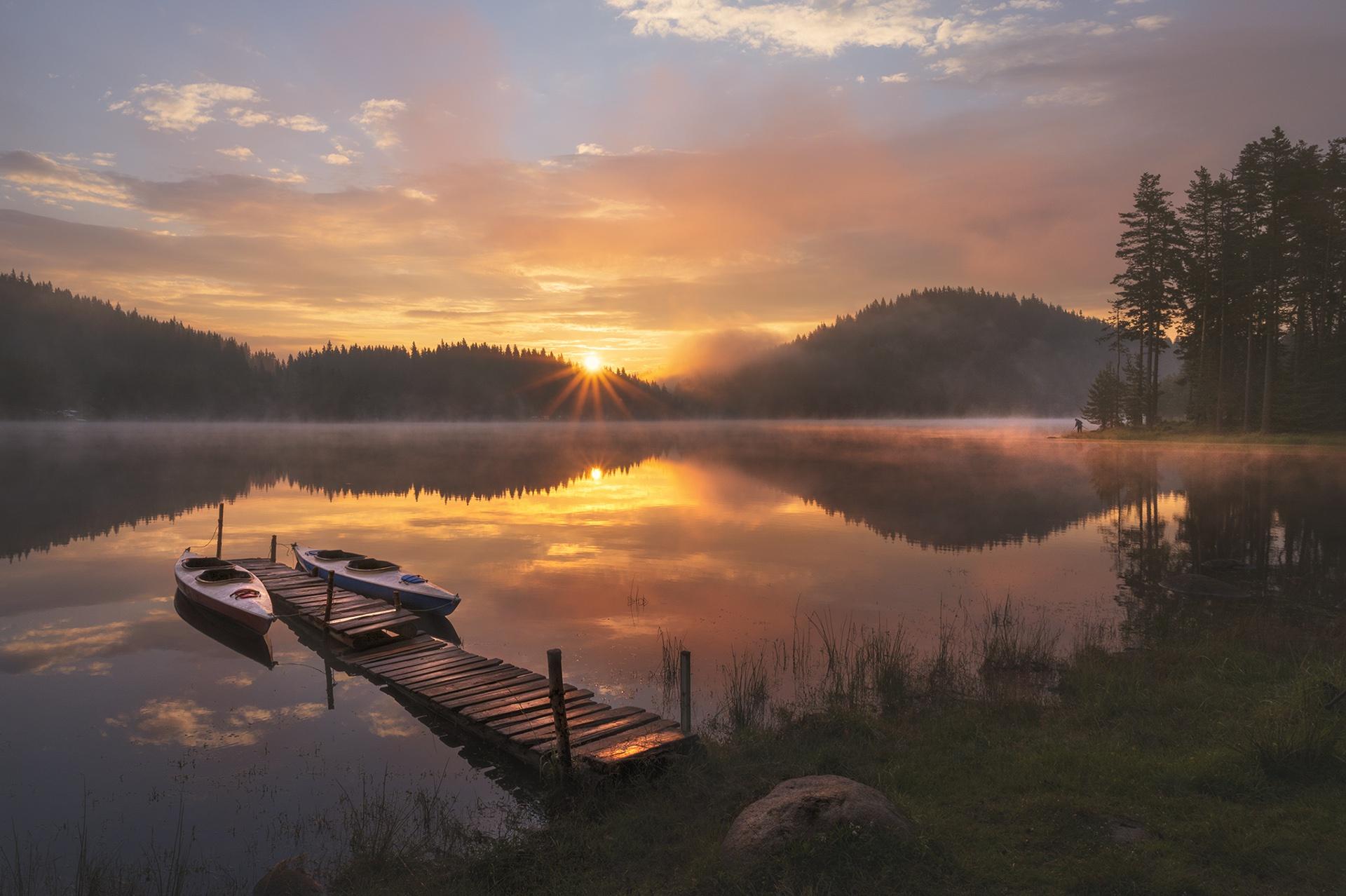 Sun Sunset River Boat 1920x1278