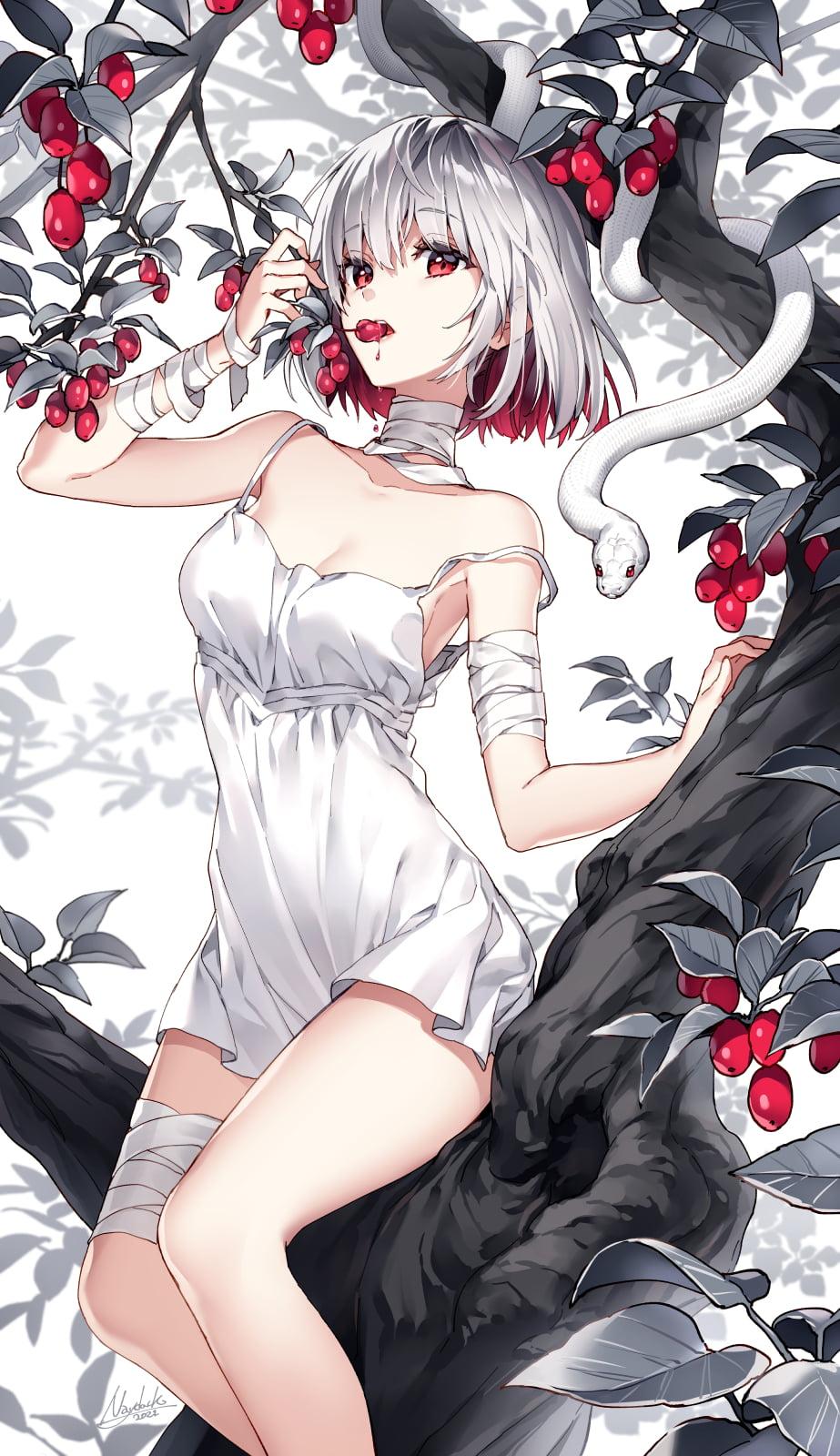 Anime Anime Girls Artwork Multi Colored Hair Short Hair Bangs Red Eyes Bandages White Dress Trees An 923x1600