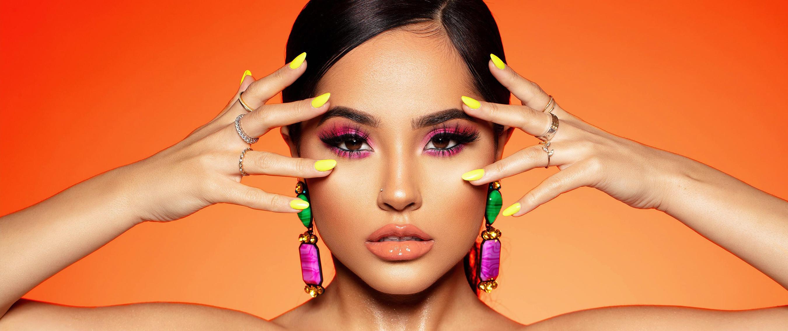 American Becky G Black Hair Brown Eyes Earrings Face Girl Makeup Singer 2700x1137