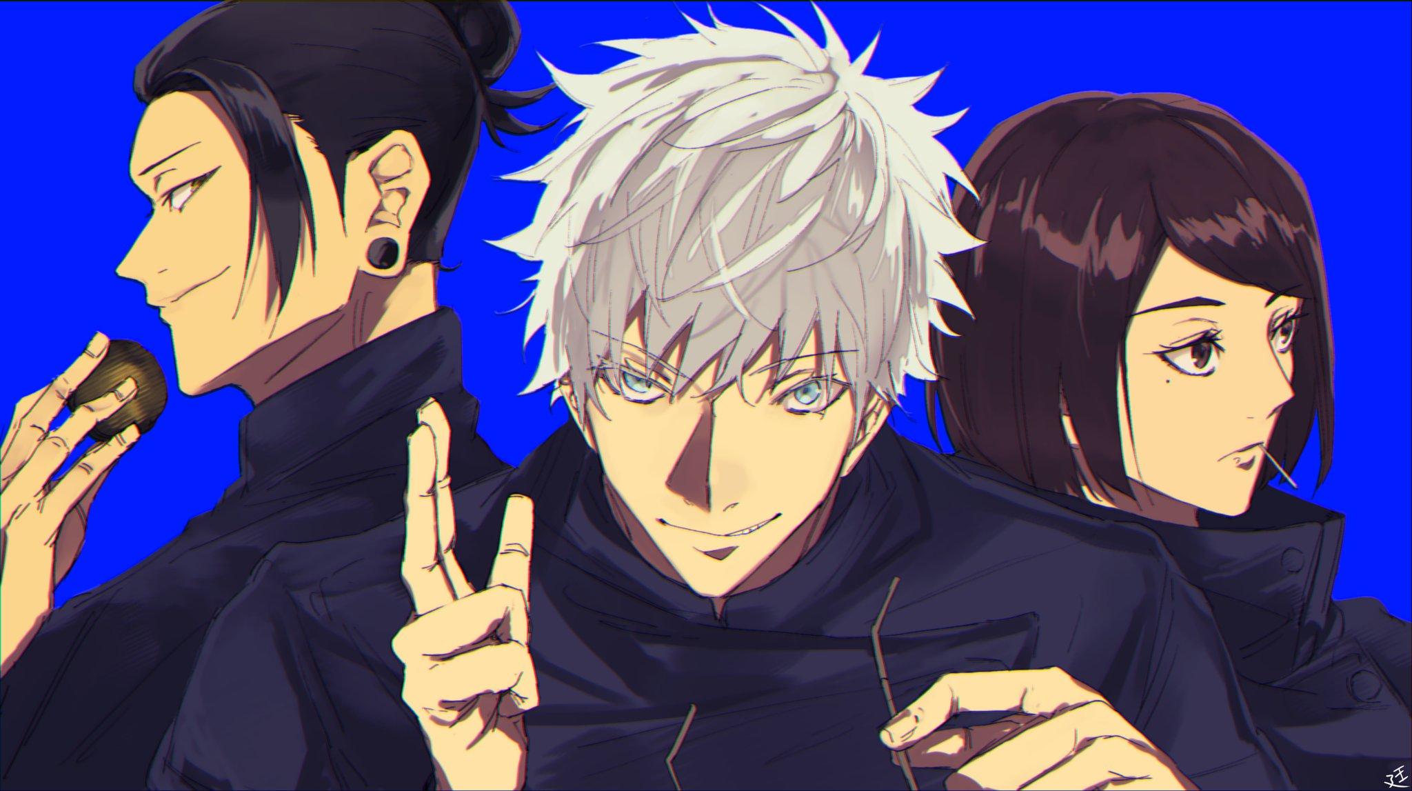 Satoru Gojo White Hair Blue Eyes Boy School Uniform Shoko Ieiri Girl Brown Hair Brown Eyes Suguru Ge 2048x1147