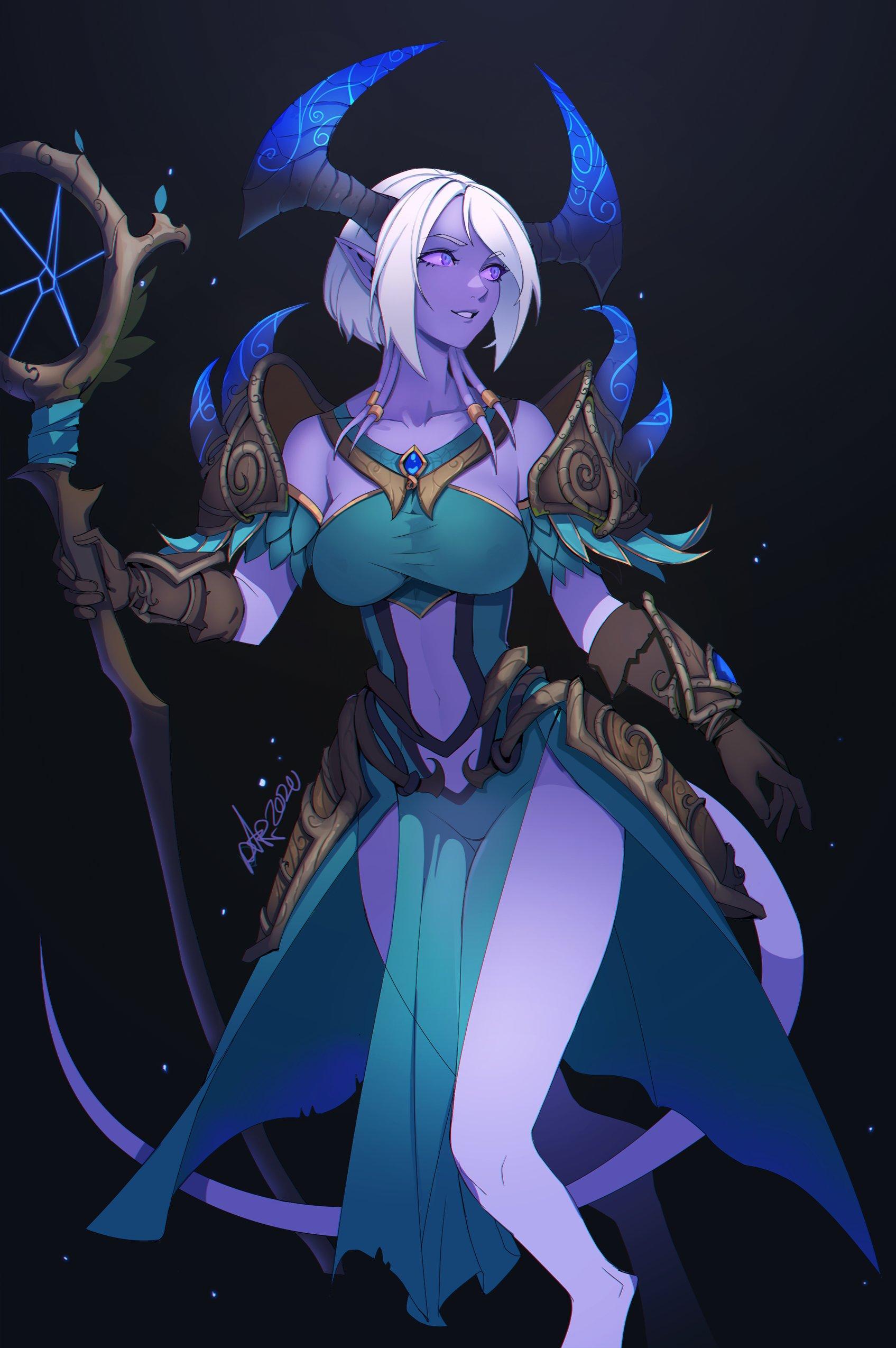 Warcraft World Of Warcraft Blizzard Entertainment Women Fantasy Girl White Hair Purple Eyes Elf Ears 1695x2549