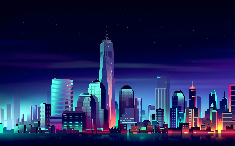 Artistic City Cityscape New York Skyscraper 2880x1800