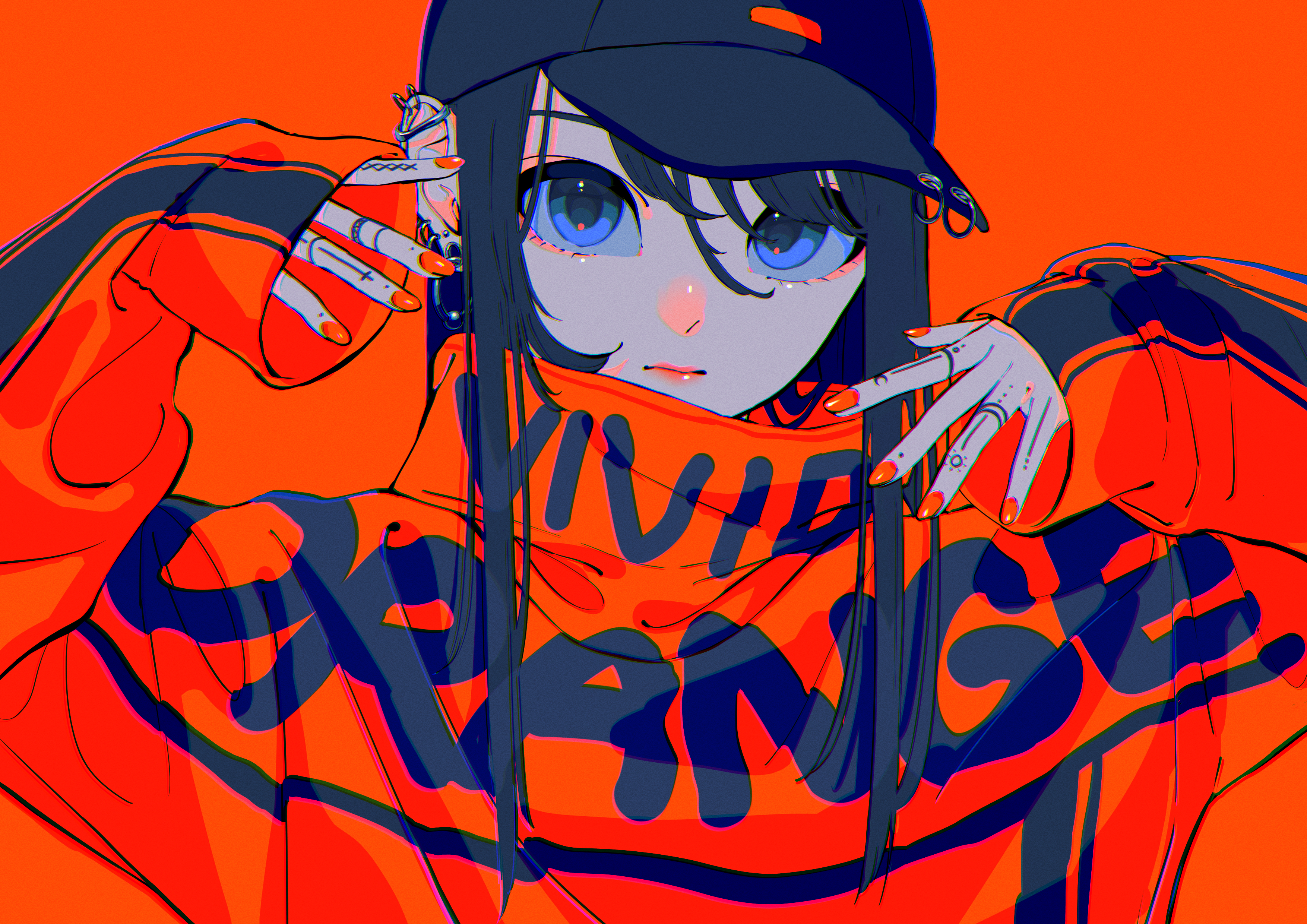 Anime Anime Girls Red Background Baseball Cap Blue Eyes Looking At Viewer Red Nails Long Nails Pierc 3508x2480
