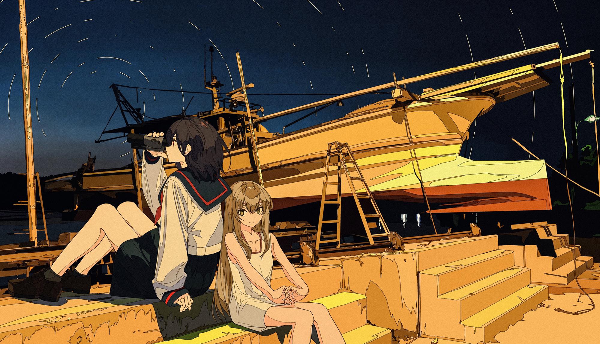 Anime Cogecha Artwork Anime Girls School Uniform Dress Ship Boat 2000x1149