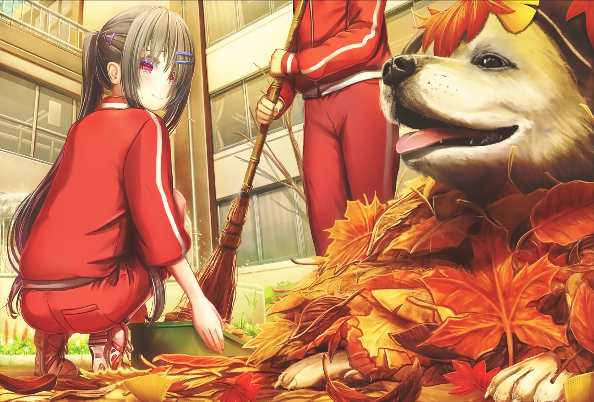 Broom Dog Maple Leafs Gym Clothes Red Eyes Hair Pins Schoolgirl Ponytail Anime Girls Fall 1920x1300