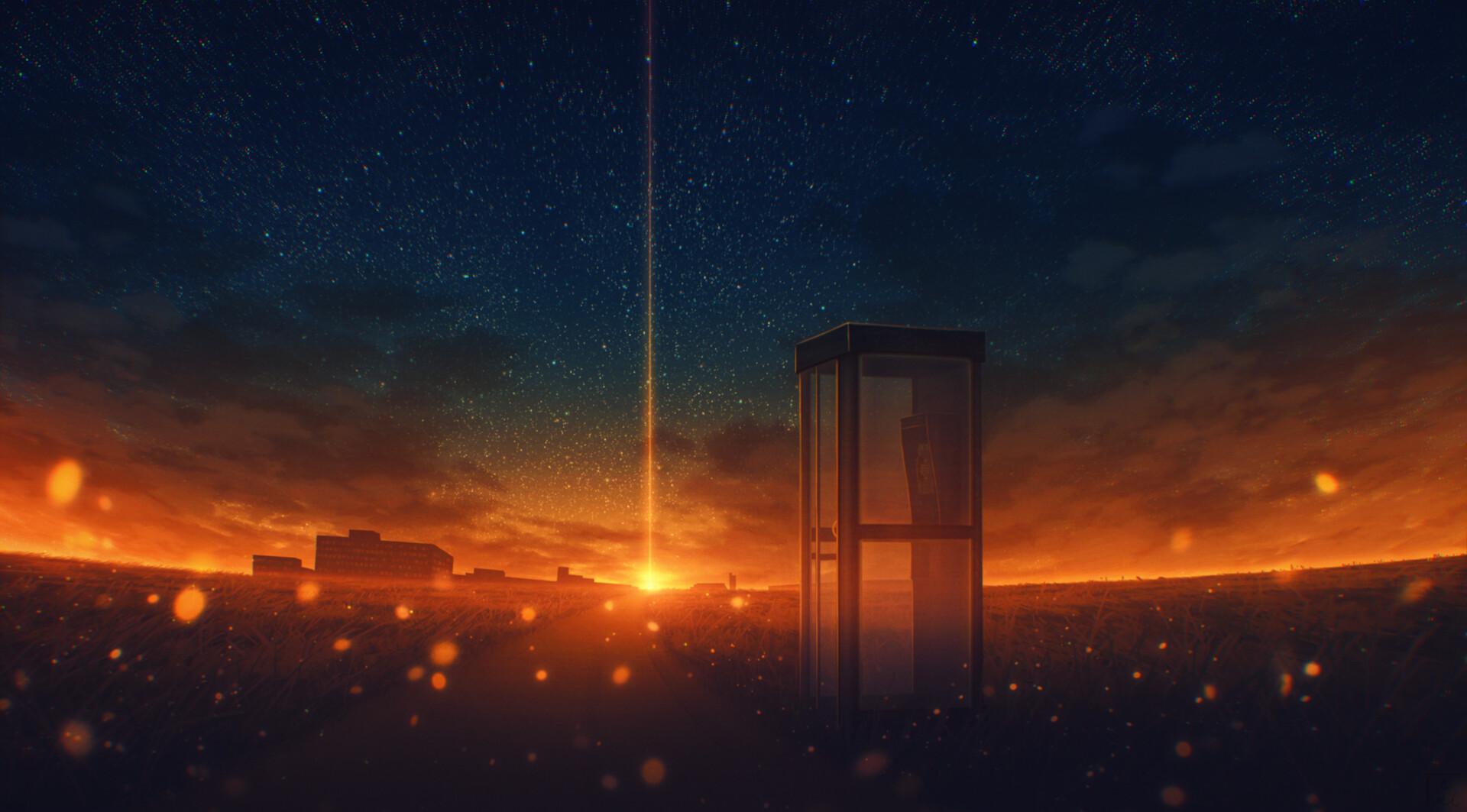 Elizabeth Miloecute Digital Art Starry Night Sunrise Sunset Phone Box Road Cityscape 1920x1063