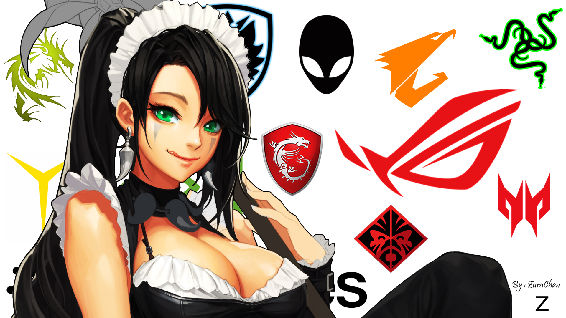 Logo Anime Razer Republic Of Gamers Alienware Hp Omen Msi Nvidia Dragon War Acer Asus Gigabyte Nidal 1920x1080