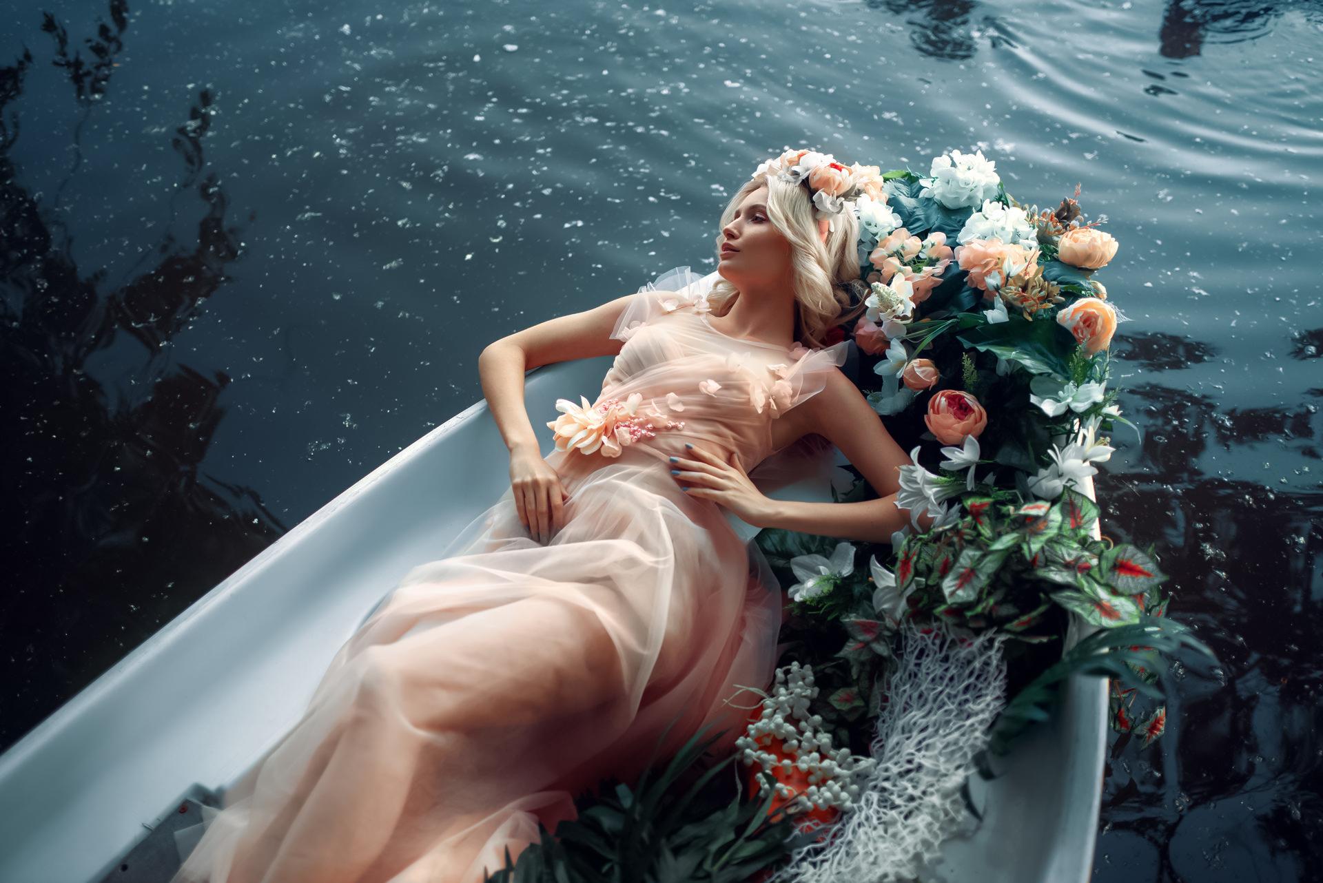 Andrey Metelkov Women Flower In Hair Blonde Looking Away Dress Flowers Boat Water 1920x1282