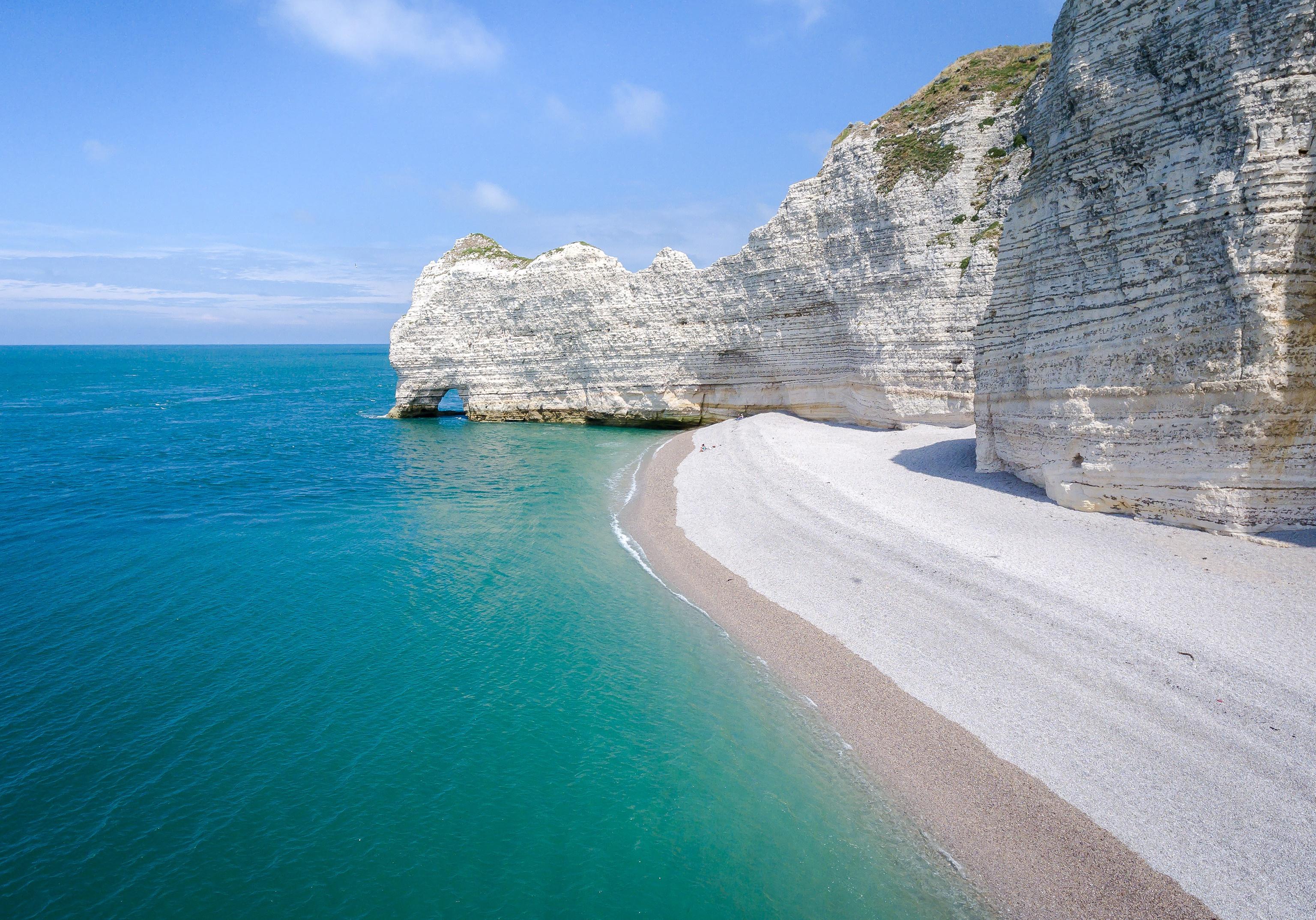 Beach Cliff Horizon Nature Ocean Sand 3072x2148