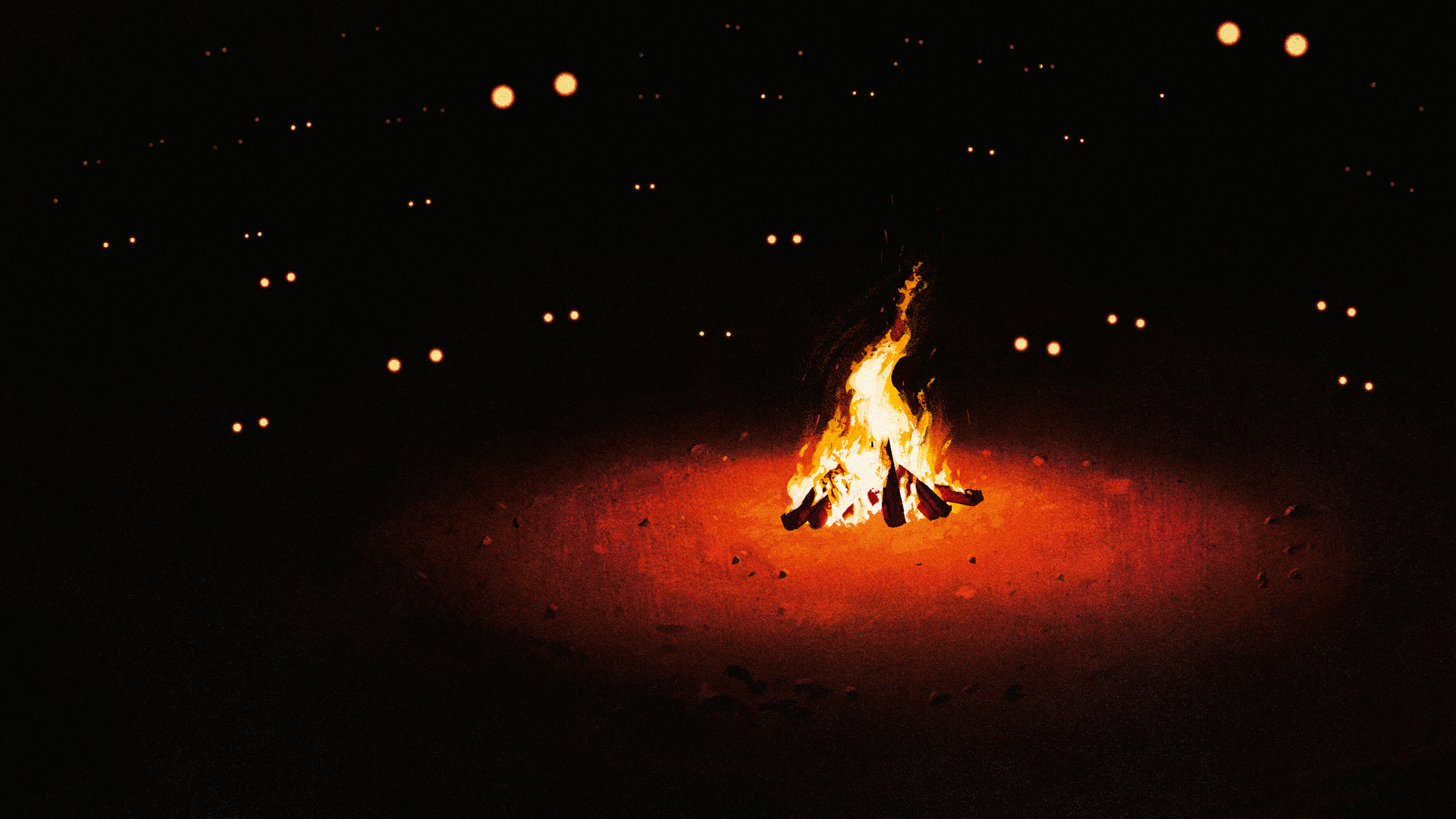 Illustration Fire Burning Fireplace Eyes Simple Background Black Background Artwork 3840x2160
