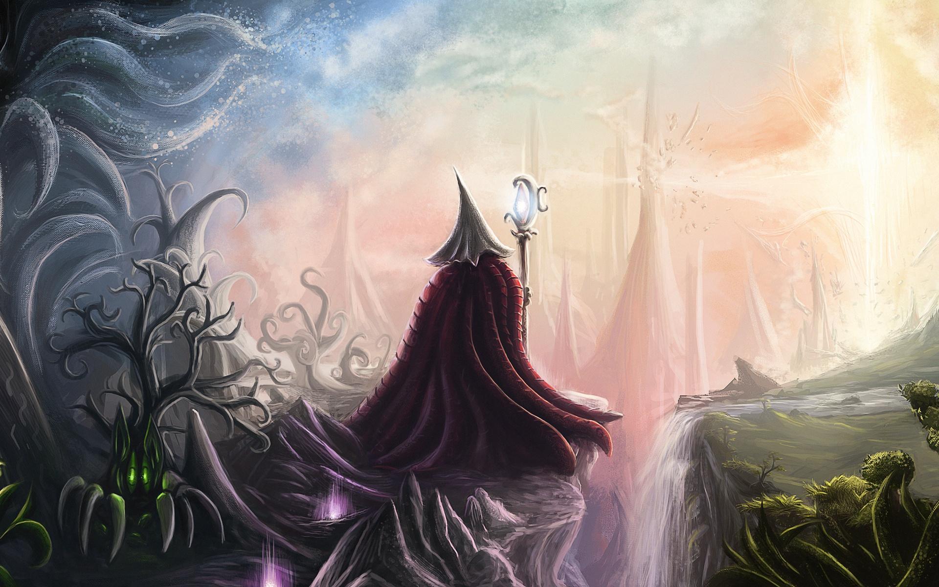 Artwork Fantasy Art Staff Plants Magic Waterfall Landscape 1920x1200