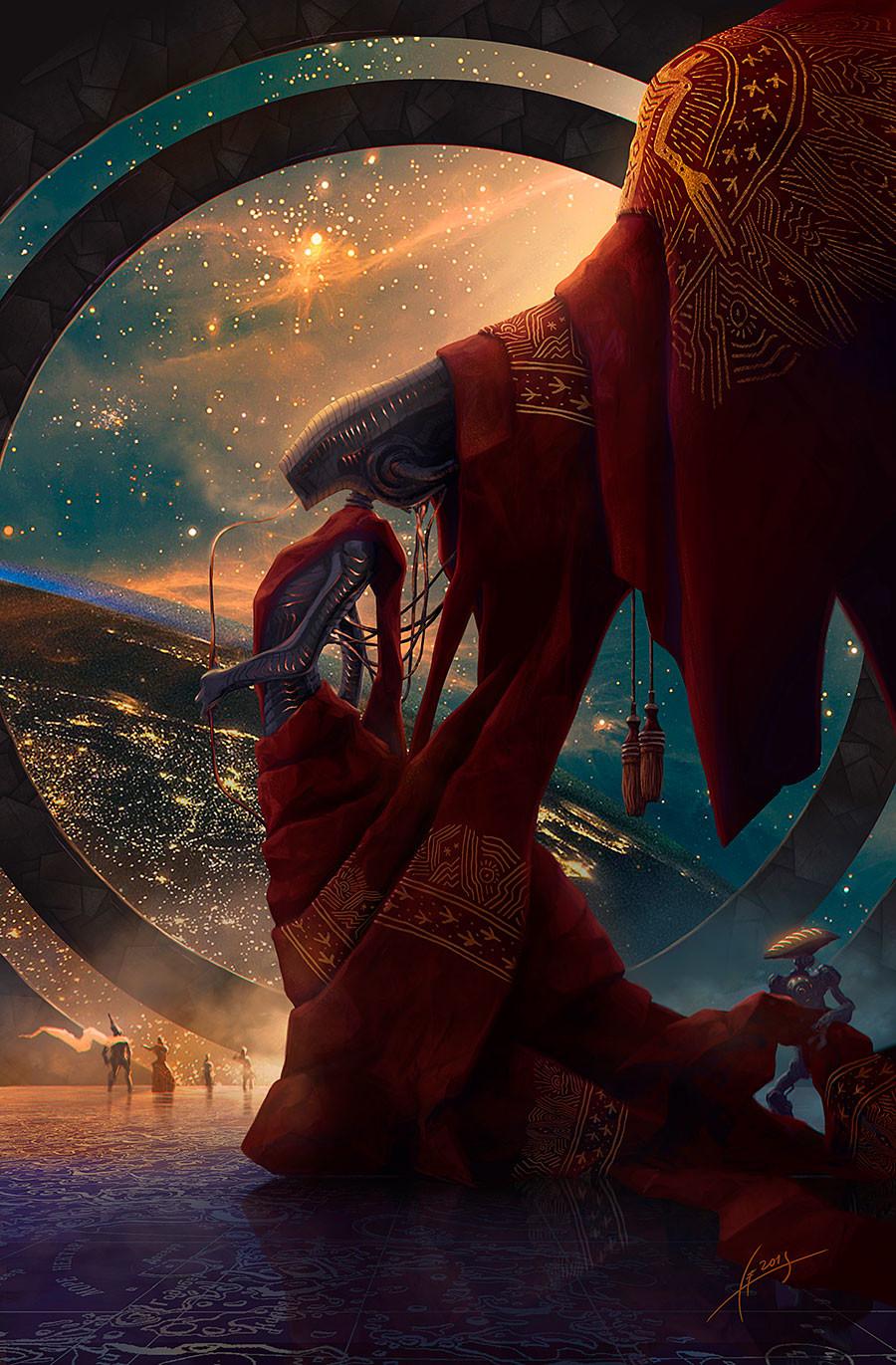 Alexey Egorov Digital Art Fantasy Art Robot Aliens Space 900x1371