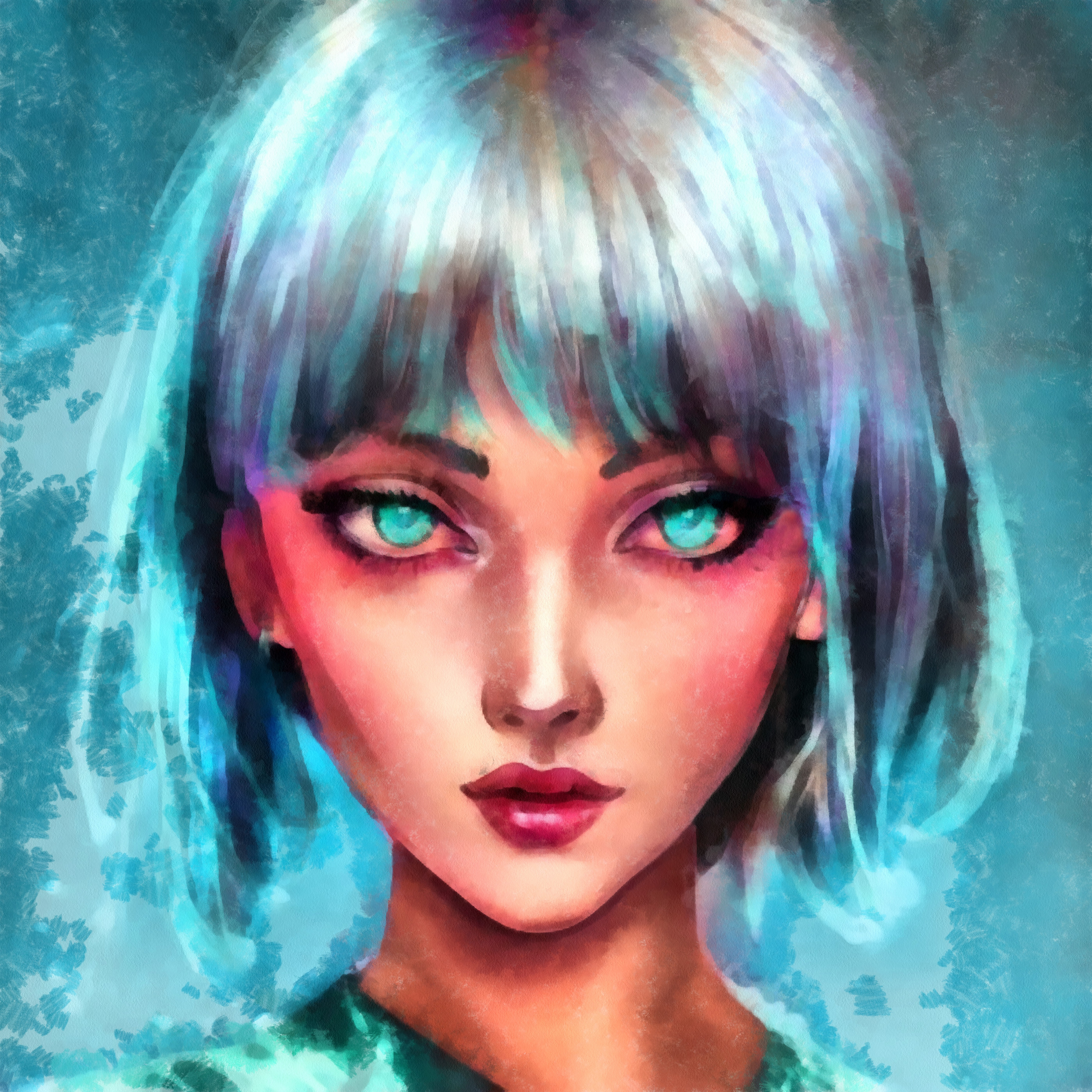 Young Woman Hair Blue Hair Illustration Lips Makeup Colorful Eyes Face Fashion Women Watercolor Port 5590x5590