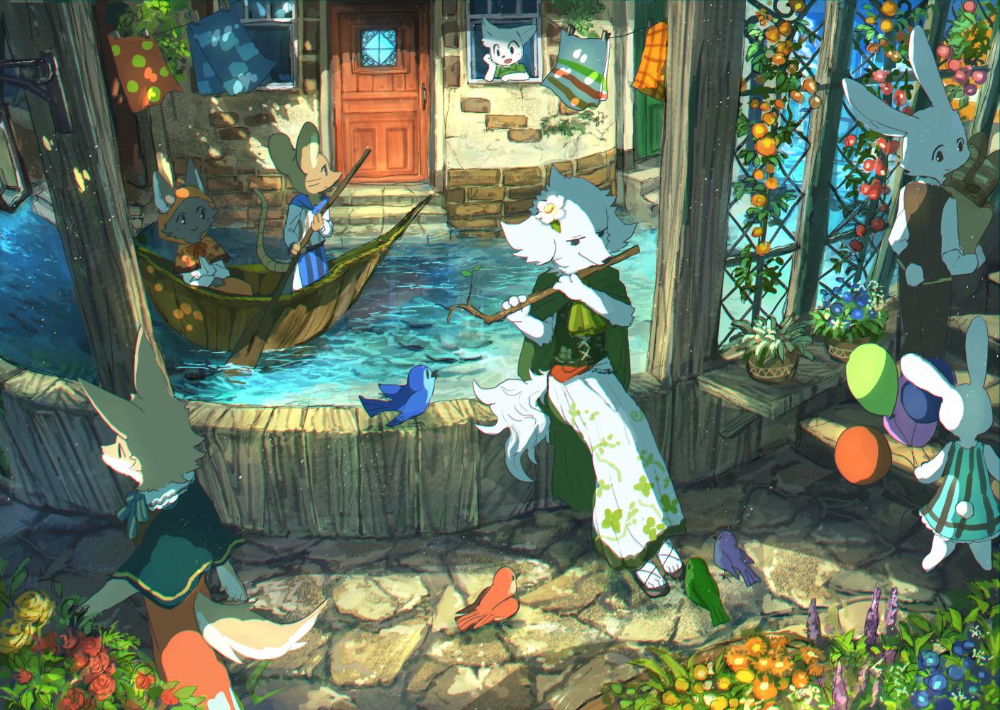 Anthro Rabbits Boat Dog Water Oar Roses Flowers Balloon Dress Fox Lavender Flowerpot Bricks Cobblest 1409x1000