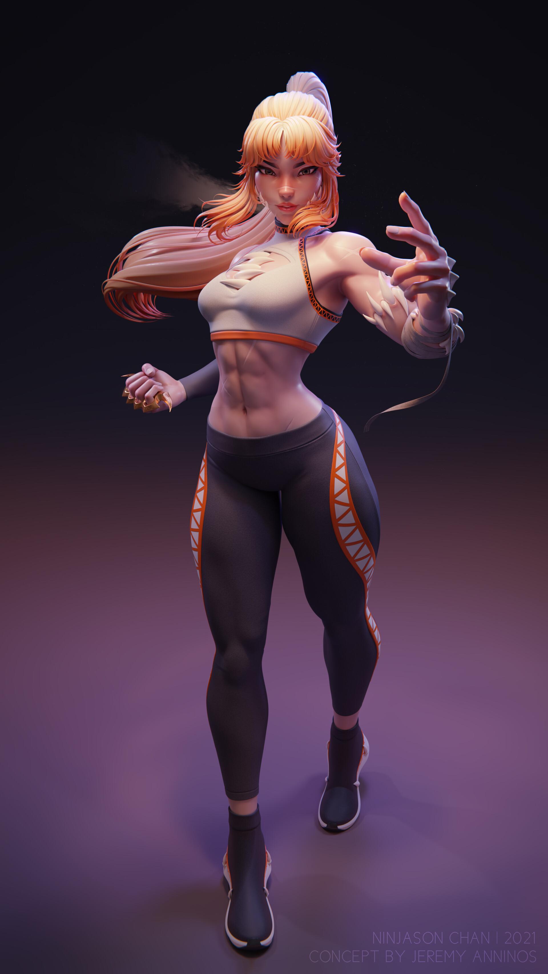 NinJason Chan ArtStation Artwork Women Gradient Digital Art Simple Background Long Hair Abs Fist Blo 1920x3413
