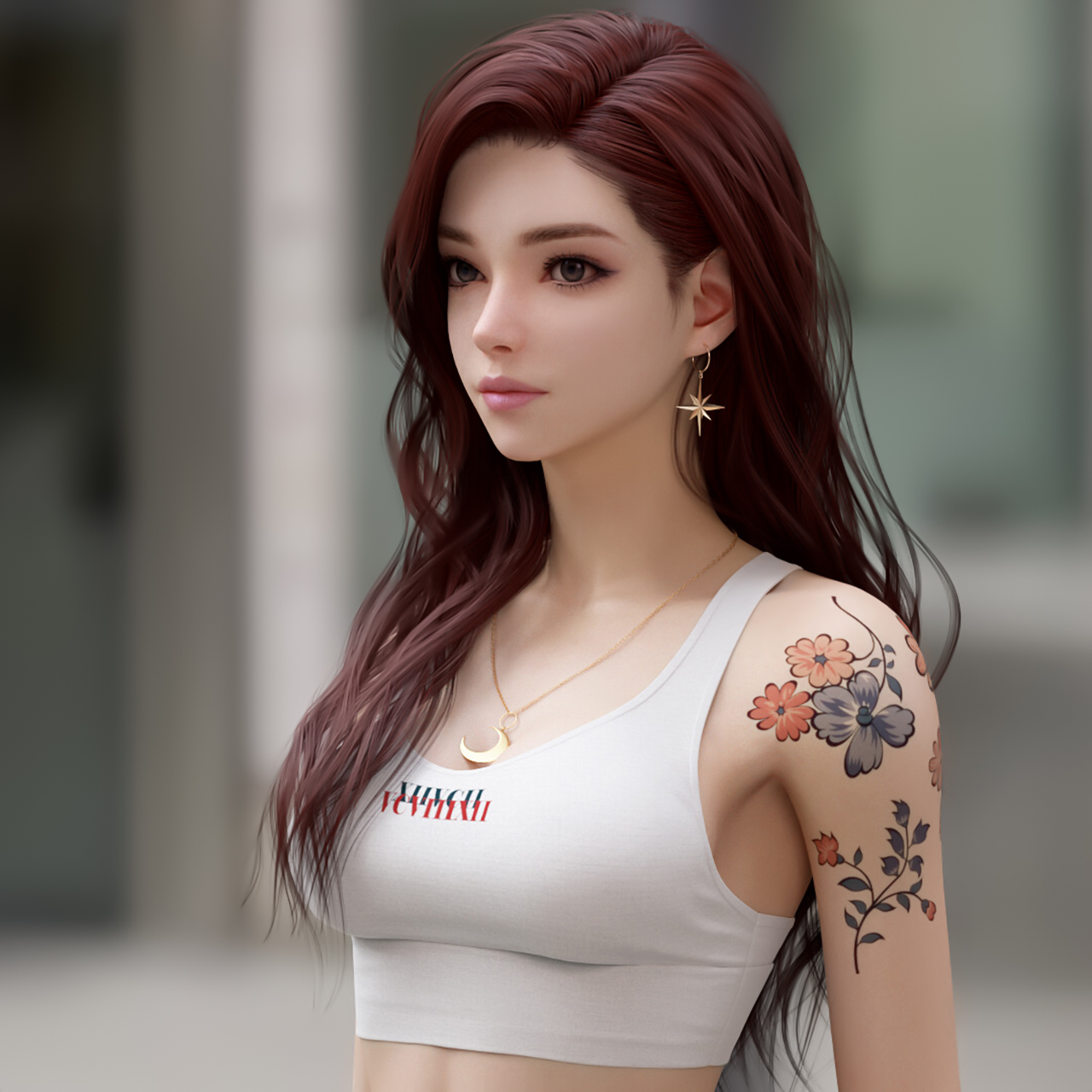 Shin JeongHo CGi Women Redhead Tank Top White Clothing Necklace Long Hair Looking Away Tattoo Depth  1280x1280