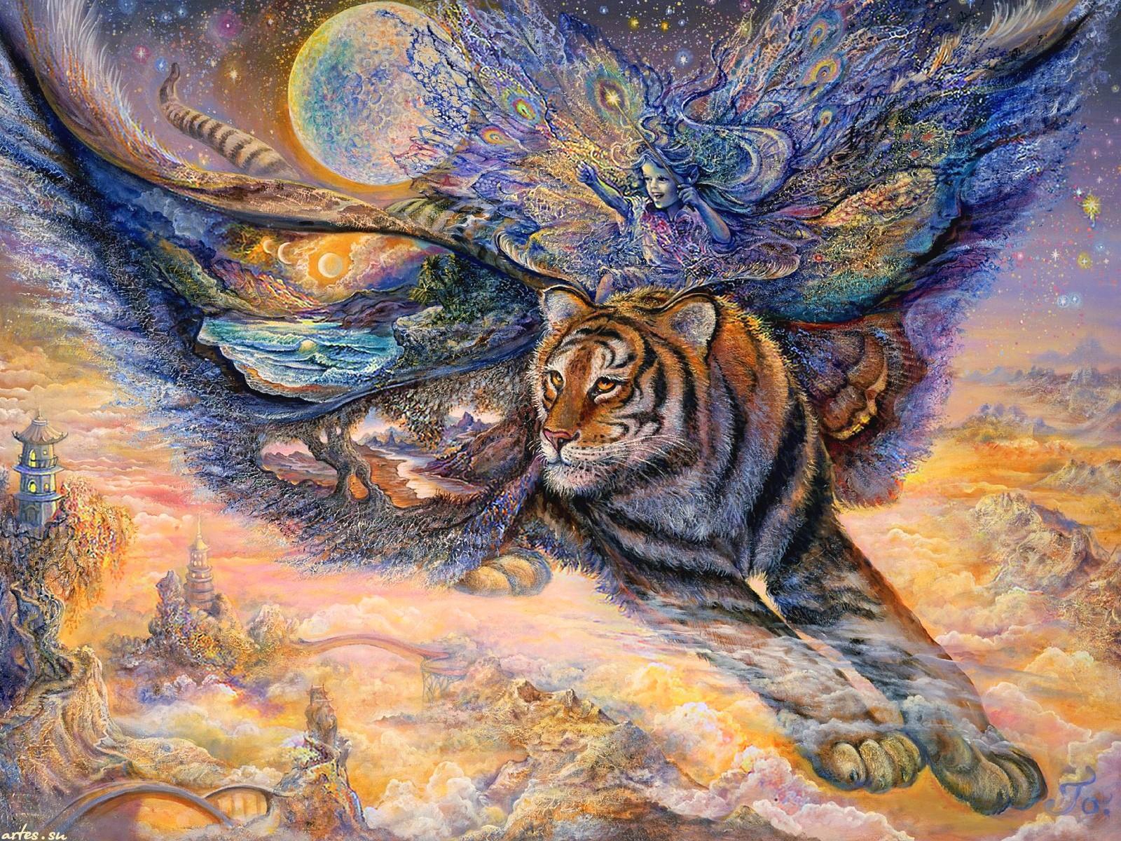 Artistic Fairy Fantasy Flying Tiger 1600x1200