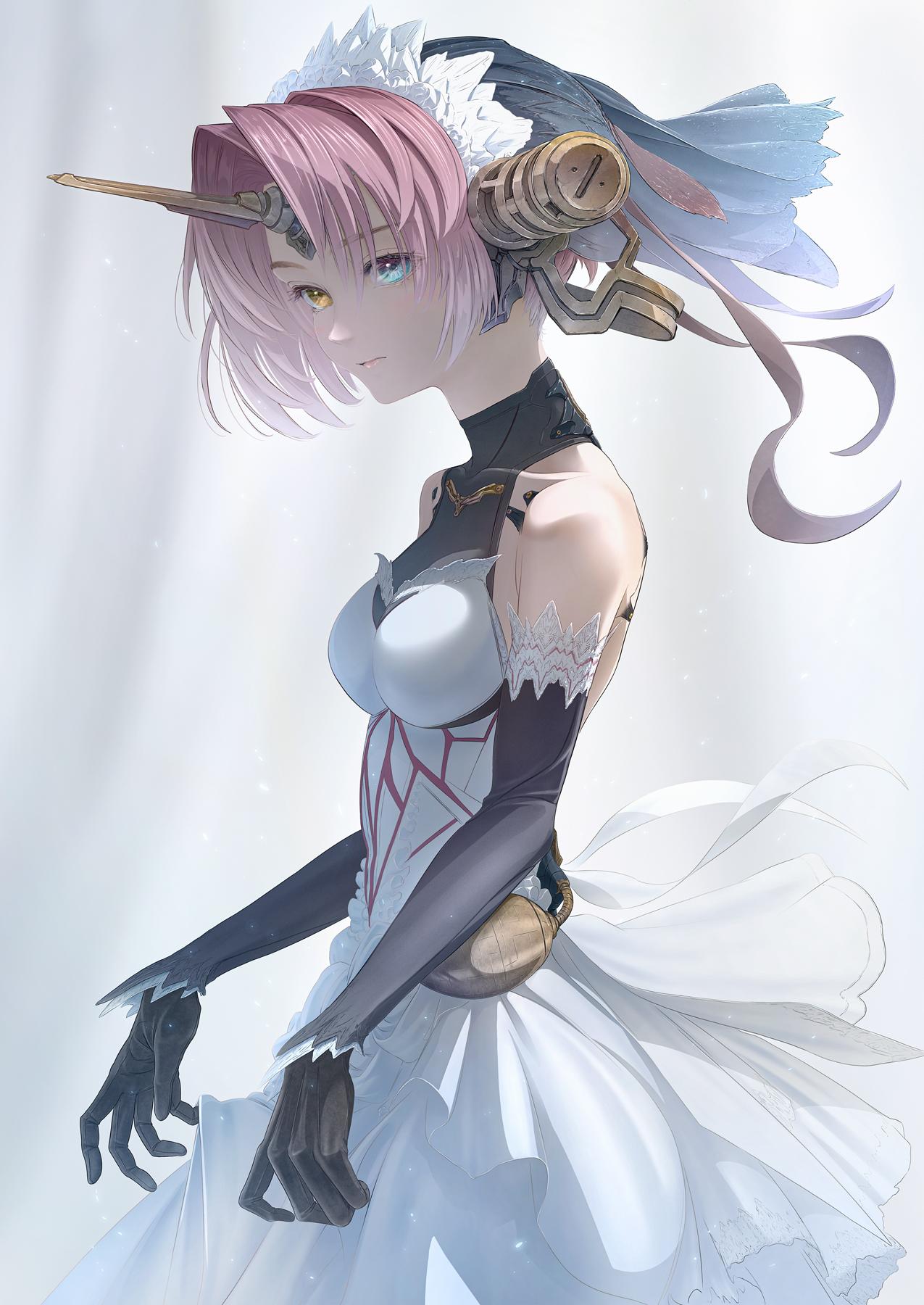 Fate Apocrypha Fate Series FGO Monster Girl Metal Horns Short Hair Black Gloves Heterochromia Blushi 1275x1800