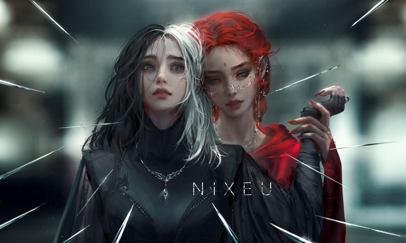 Artwork Fantasy Art Women Redhead Dark Hair White Hair Nixeu 1550x930