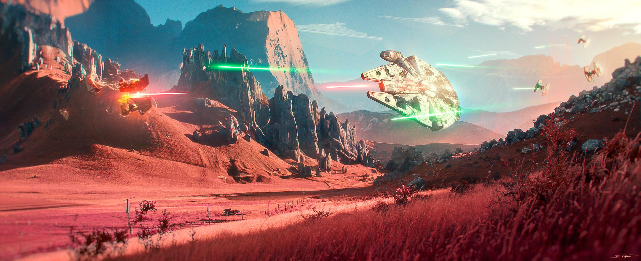 Millenium Falcon Star Wars Artwork Landscape Fictional Ultrawide 2500x1019