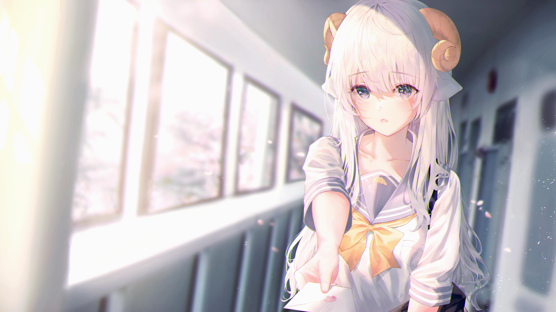 Anime Girls White Hair Horns School Uniform Neiless Neiro Artwork 5760x3240